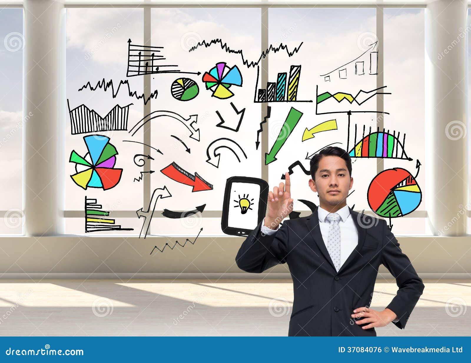 Download Unsmiling Azjatykci Biznesmena Wskazywać Zdjęcie Stock - Obraz złożonej z jaskrawy, chmury: 37084076