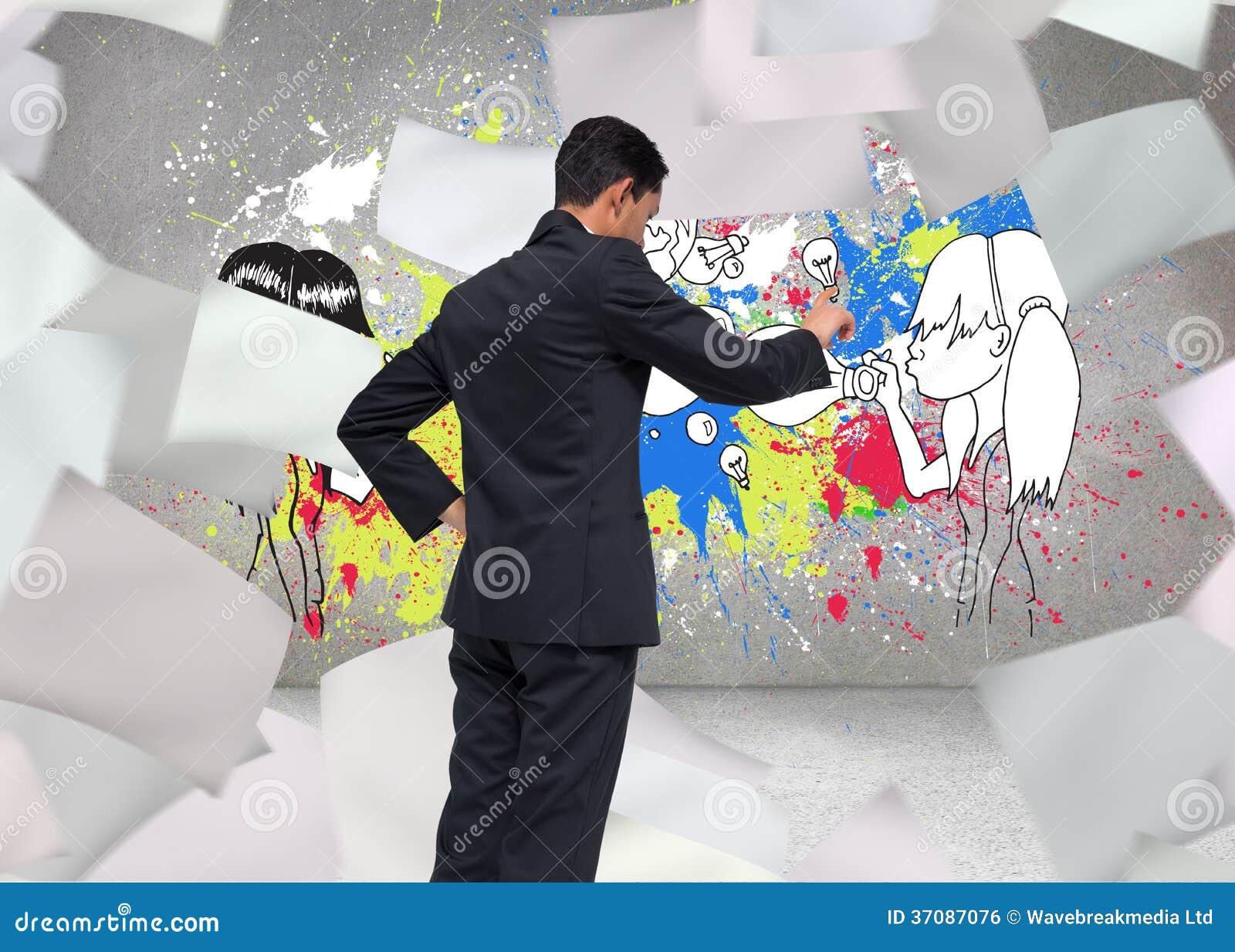 Download Unsmiling Azjatykci Biznesmena Wskazywać Zdjęcie Stock - Obraz złożonej z żarówka, well: 37087076