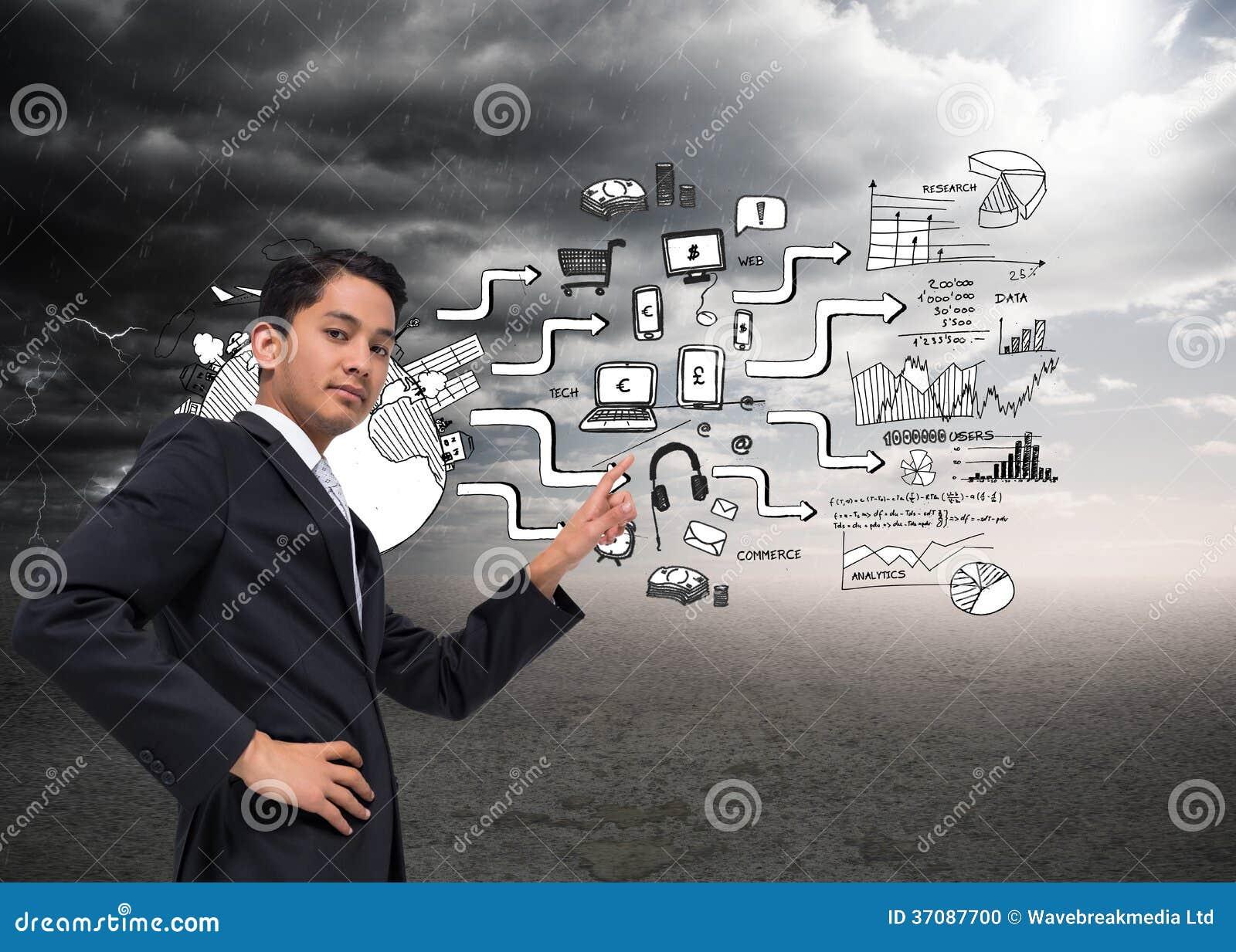 Download Unsmiling Azjatykci Biznesmena Wskazywać Zdjęcie Stock - Obraz złożonej z osoba, komputer: 37087700
