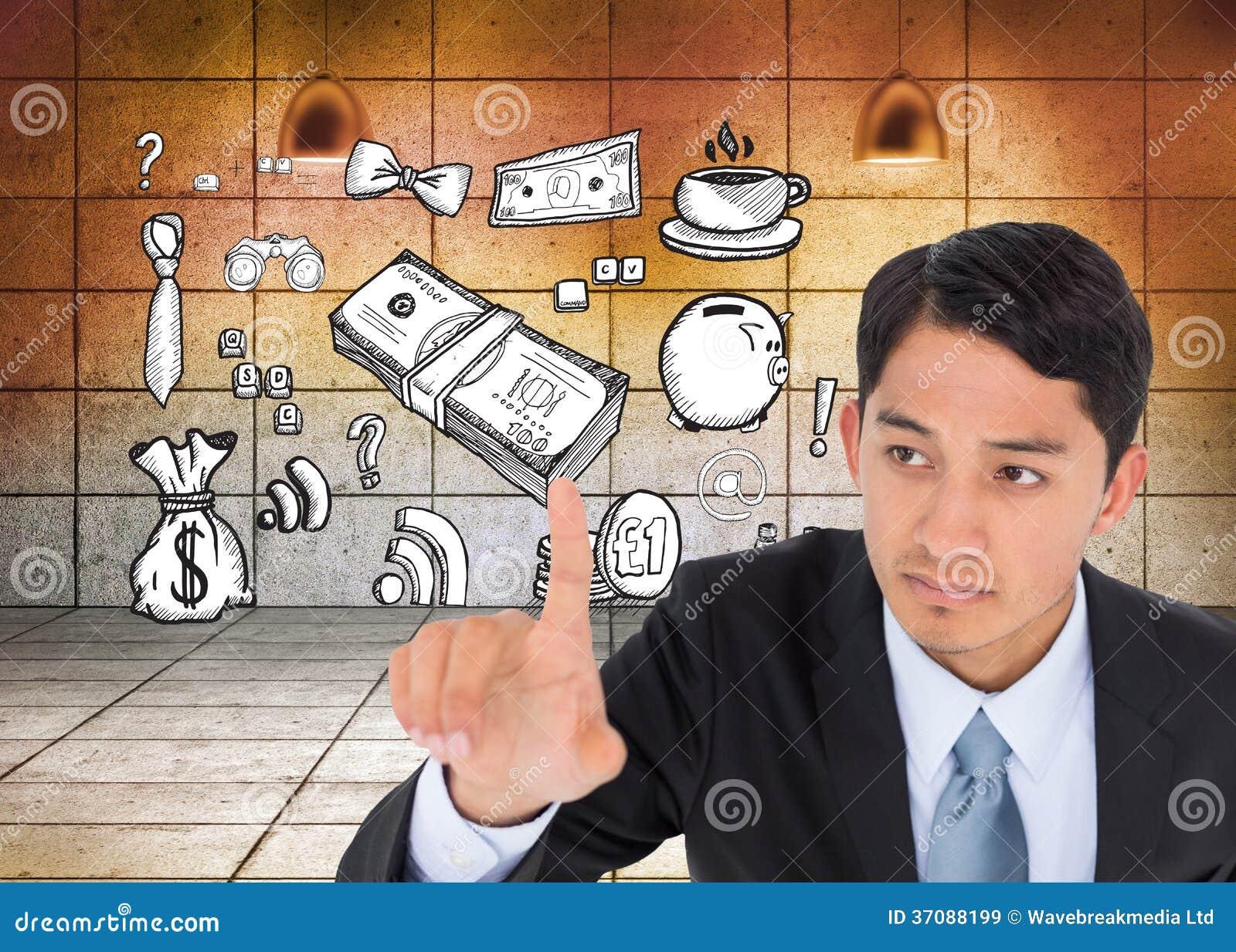 Download Unsmiling Azjatykci Biznesmena Wskazywać Obraz Stock - Obraz złożonej z komputer, biznes: 37088199