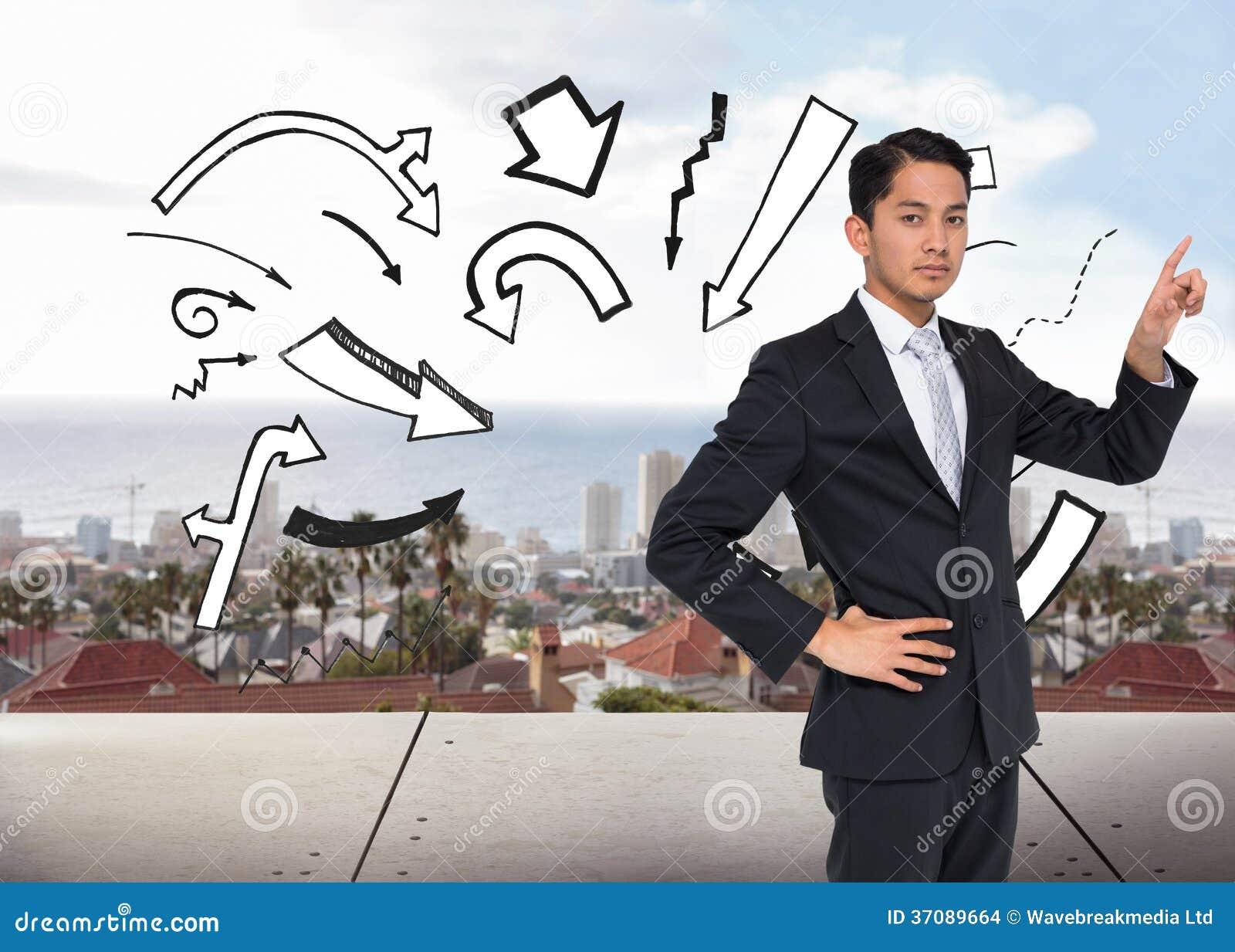 Download Unsmiling Azjatykci Biznesmena Wskazywać Zdjęcie Stock - Obraz złożonej z kostium, doodle: 37089664
