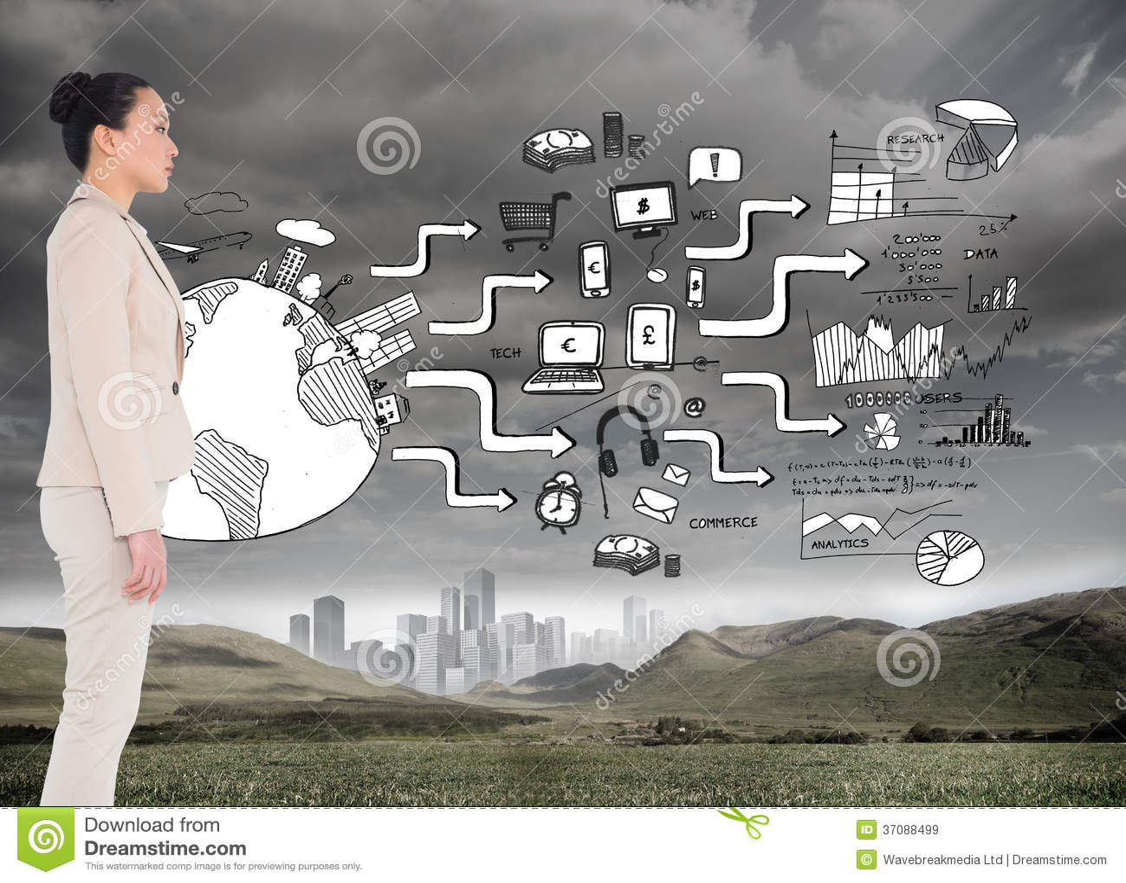 Download Unsmiling Azjatykci Bizneswoman Obraz Stock - Obraz złożonej z pastylka, strategia: 37088499