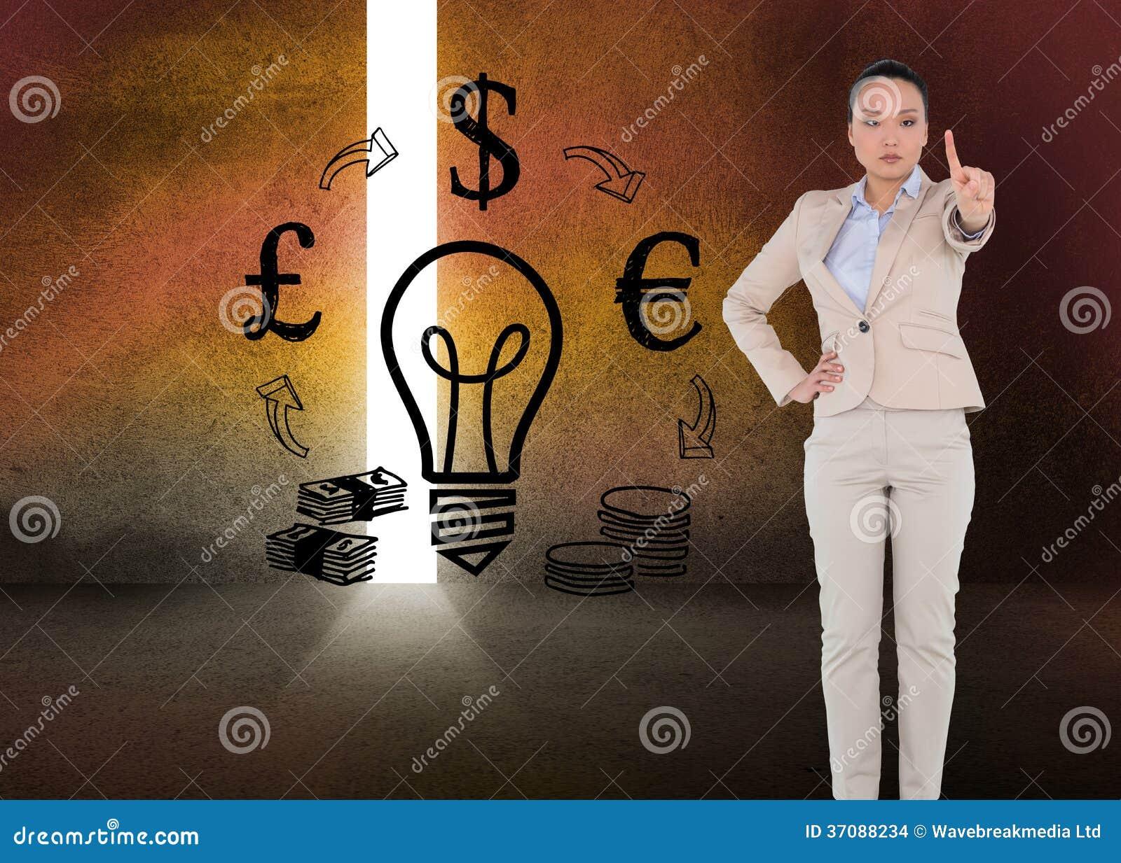 Download Unsmiling Azjatykci Bizneswomanu Wskazywać Zdjęcie Stock - Obraz złożonej z grafika, digitise: 37088234