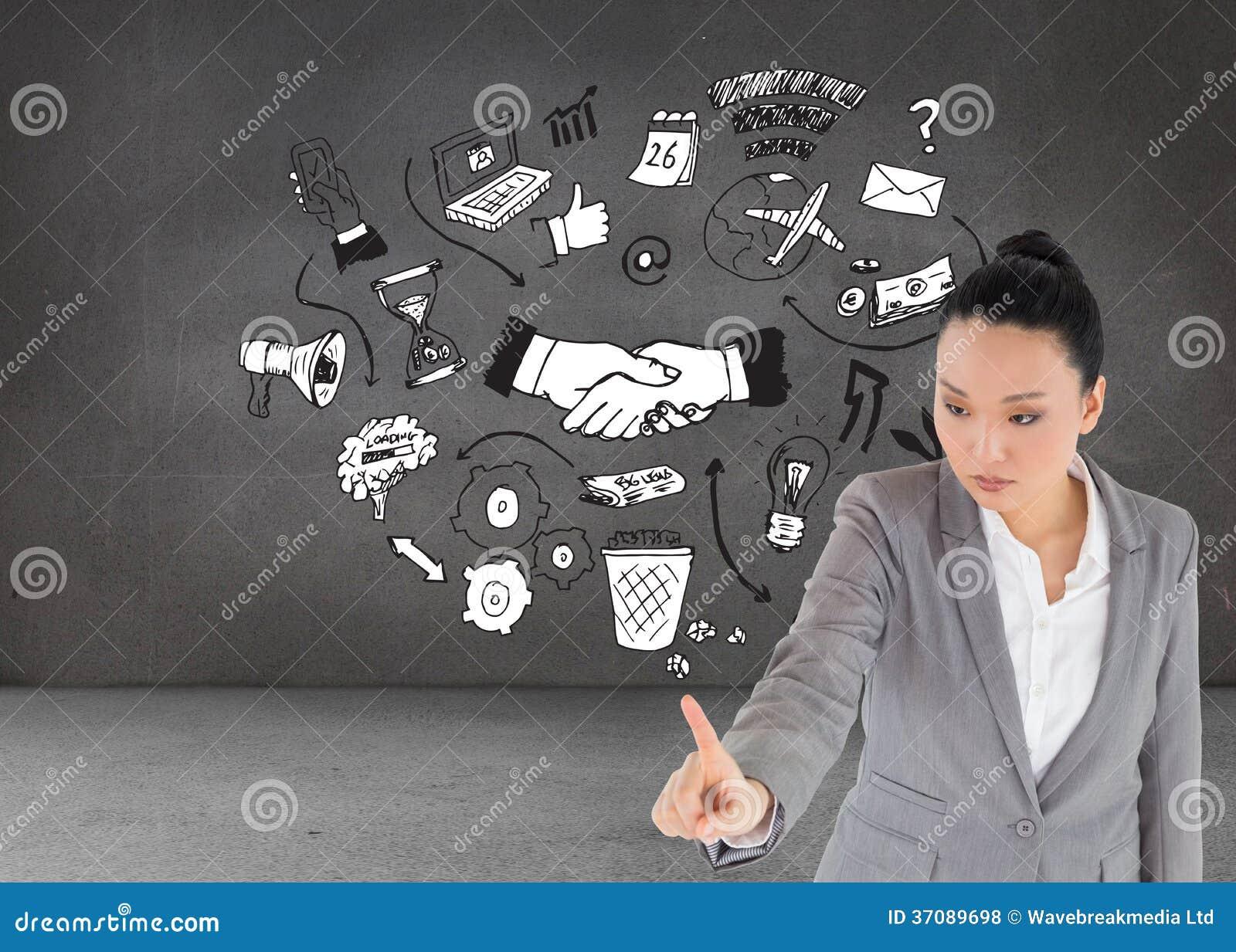 Download Unsmiling Azjatykci Bizneswomanu Wskazywać Zdjęcie Stock - Obraz złożonej z email, pokój: 37089698
