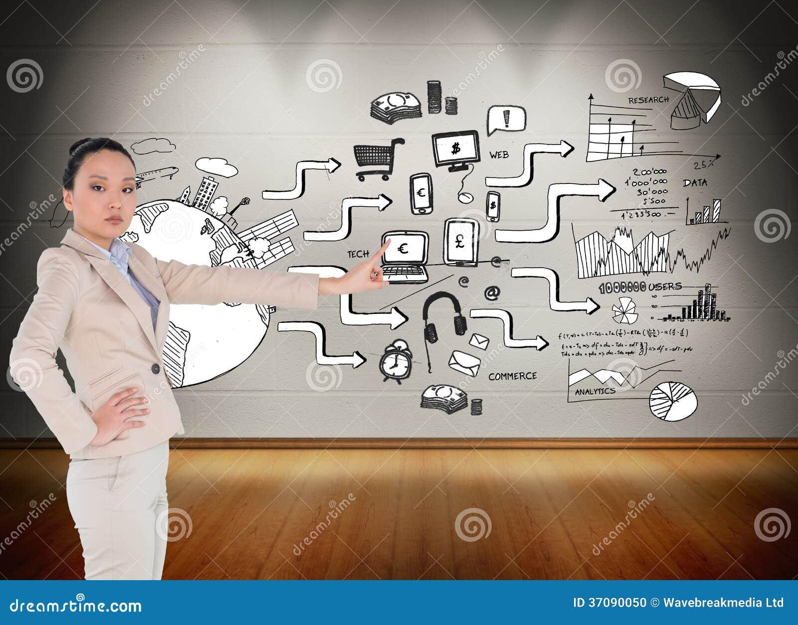 Download Unsmiling Azjatykci Bizneswomanu Wskazywać Zdjęcie Stock - Obraz złożonej z plan, wytwarza: 37090050