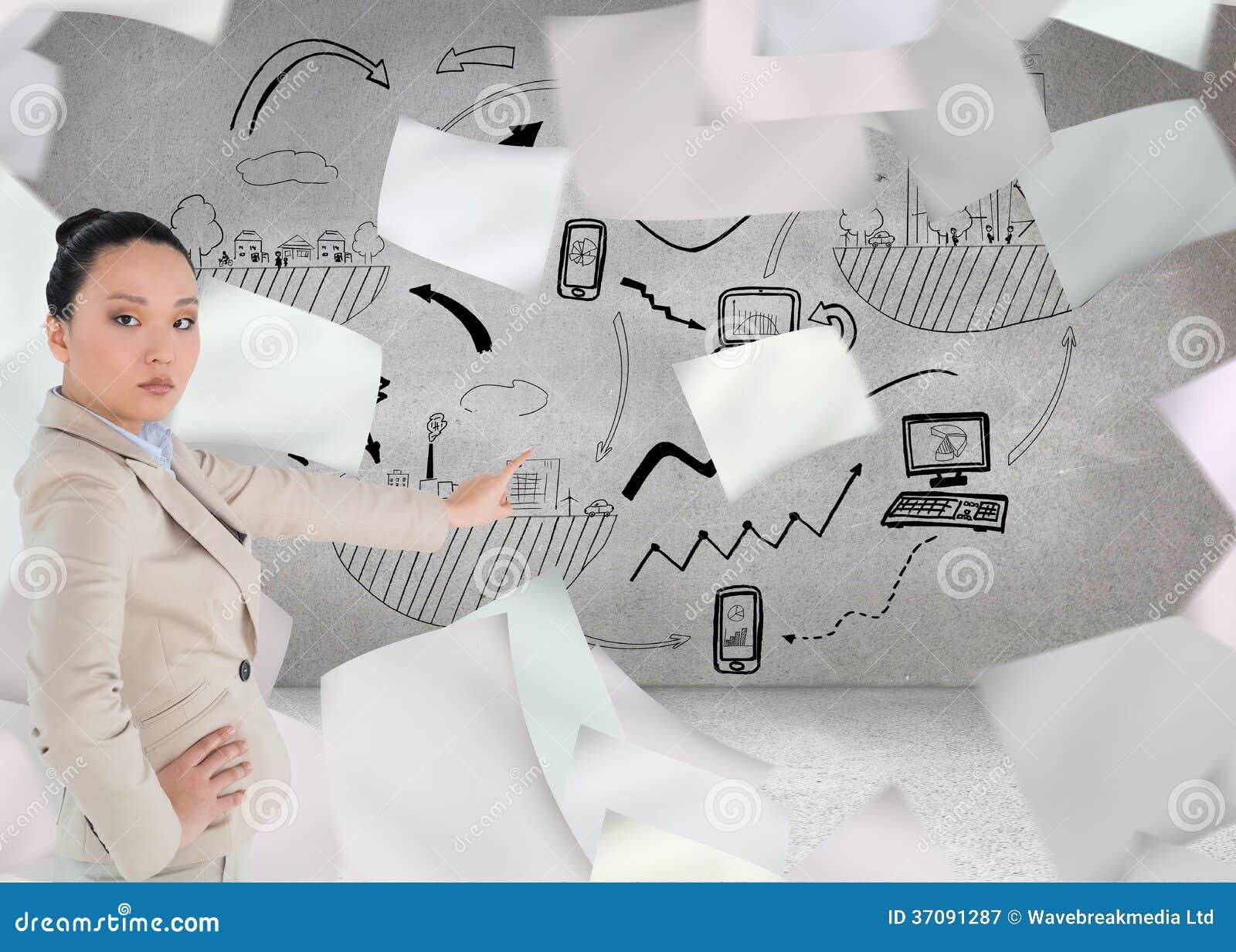Download Unsmiling Azjatykci Bizneswomanu Wskazywać Obraz Stock - Obraz złożonej z strumyk, composite: 37091287