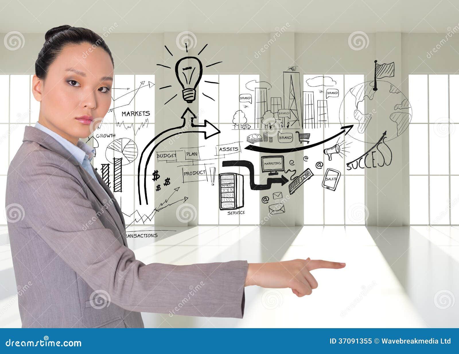 Download Unsmiling Azjatykci Bizneswomanu Wskazywać Obraz Stock - Obraz złożonej z jeden, okno: 37091355