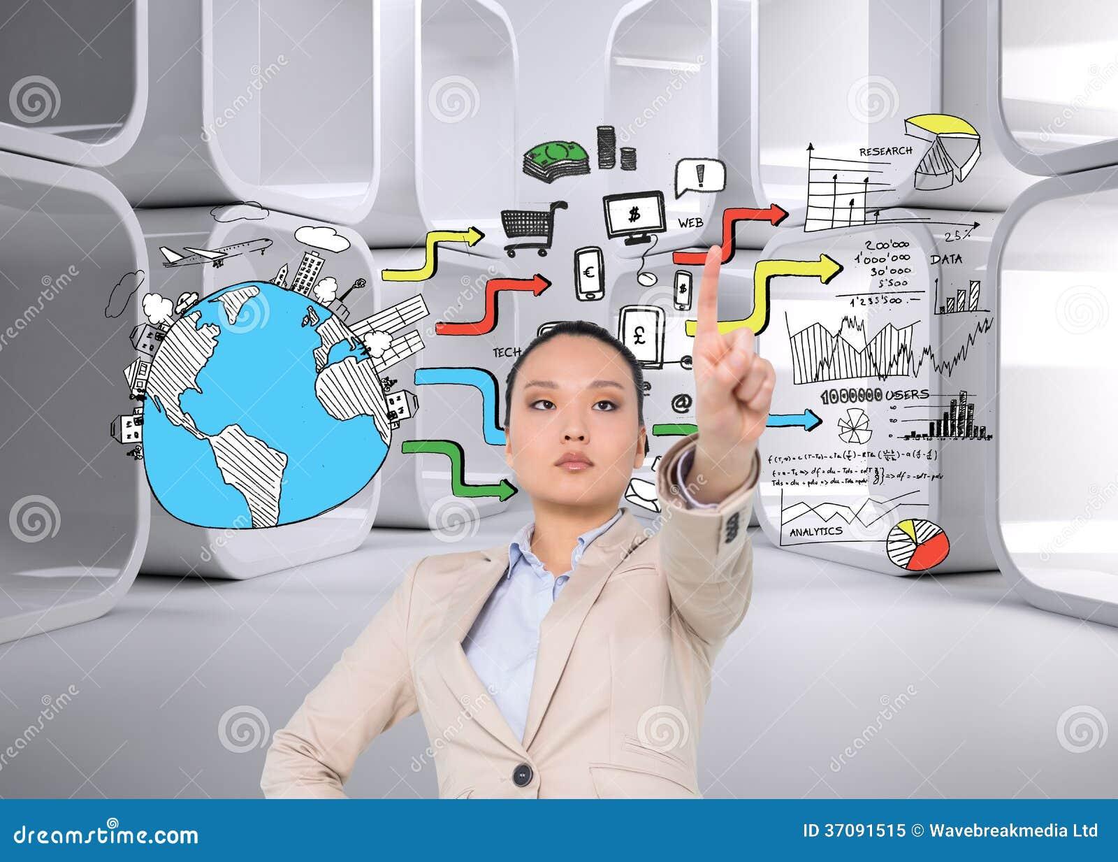 Download Unsmiling Azjatykci Bizneswomanu Wskazywać Obraz Stock - Obraz złożonej z kobiety, nowożytny: 37091515