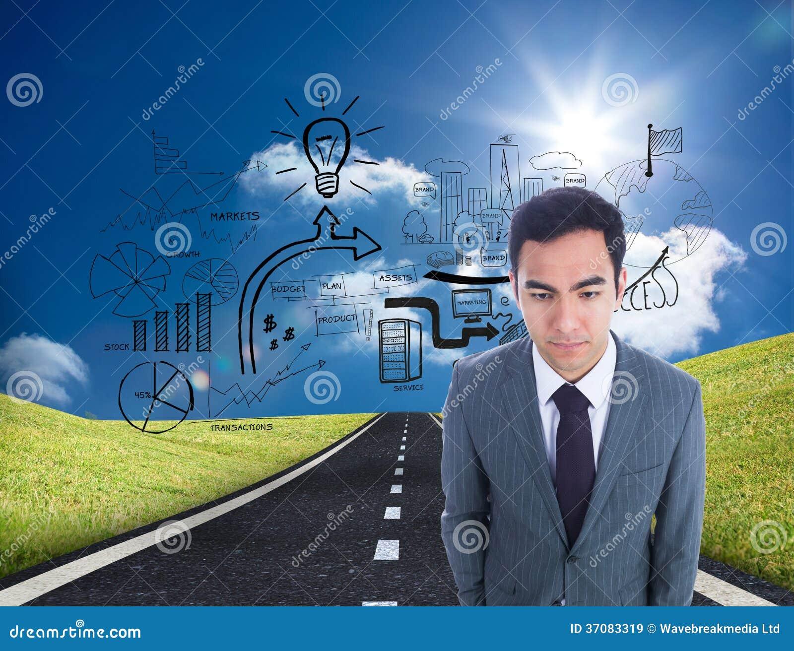 Download Unsmiling Biznesmen Pozycja Obraz Stock - Obraz złożonej z well, digitise: 37083319