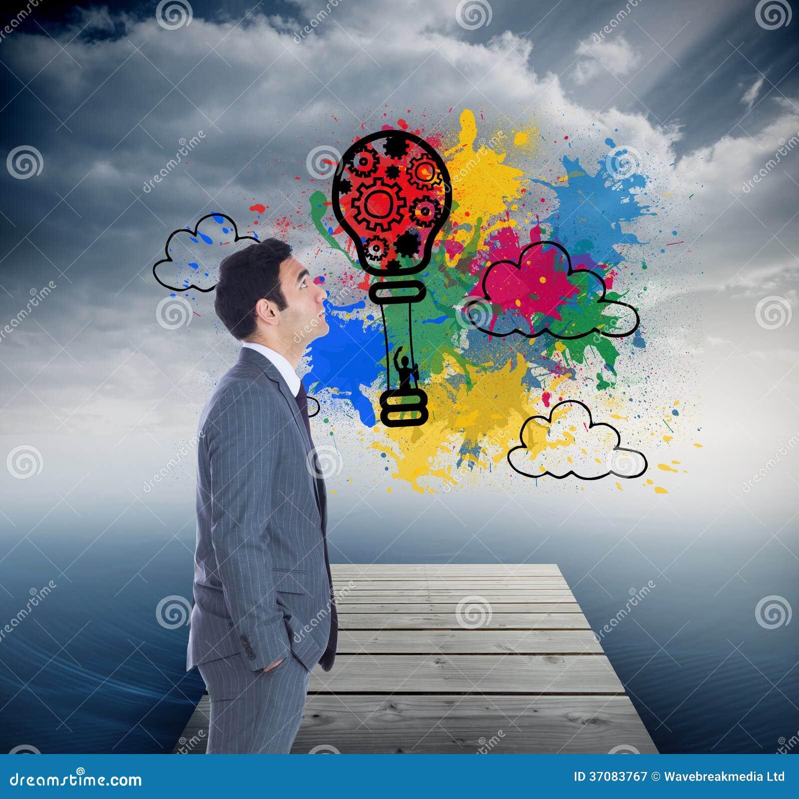 Download Unsmiling Biznesmen Pozycja Ilustracji - Ilustracja złożonej z innovate, chmura: 37083767