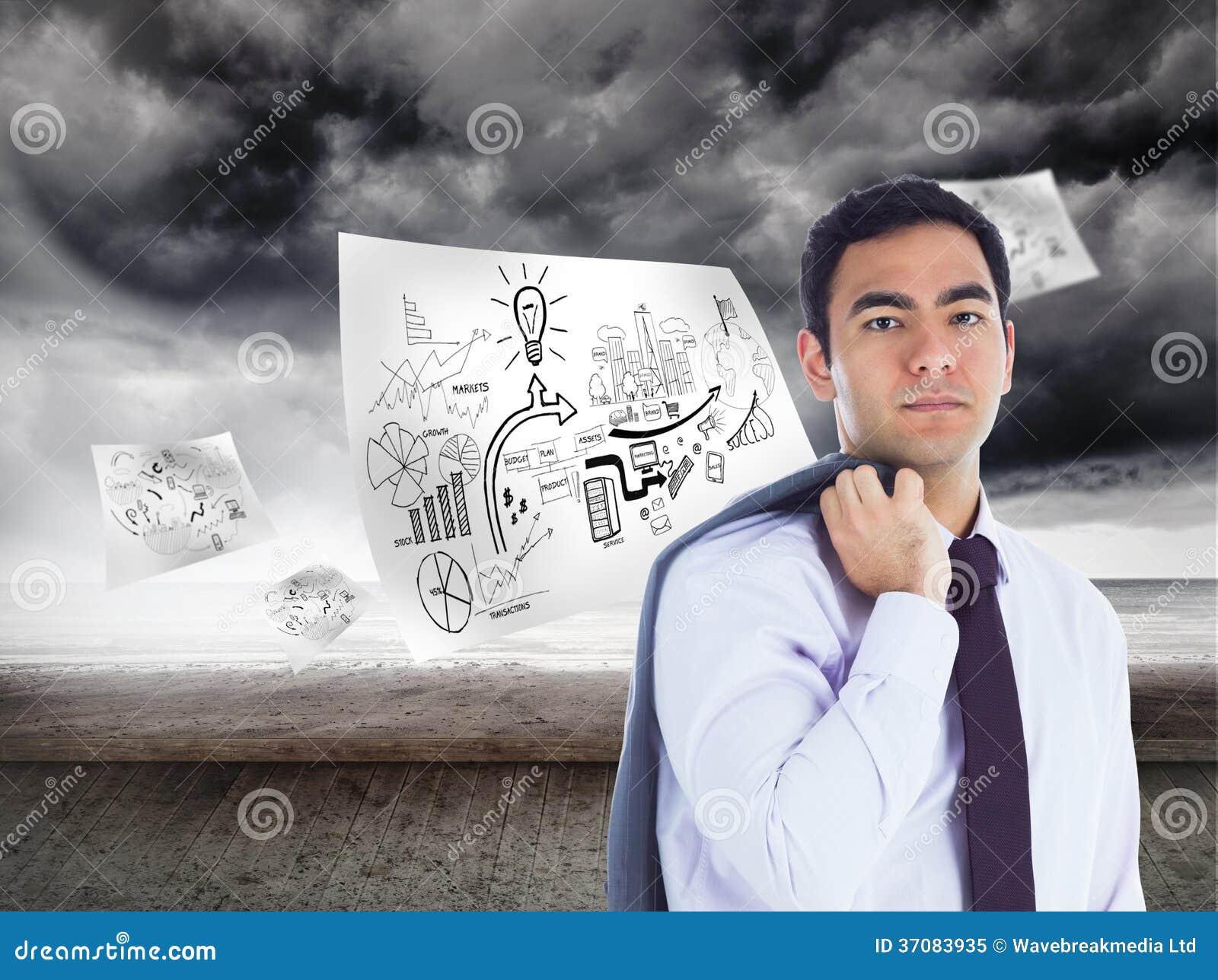 Download Unsmiling Biznesmen Pozycja Obraz Stock - Obraz złożonej z strona, well: 37083935