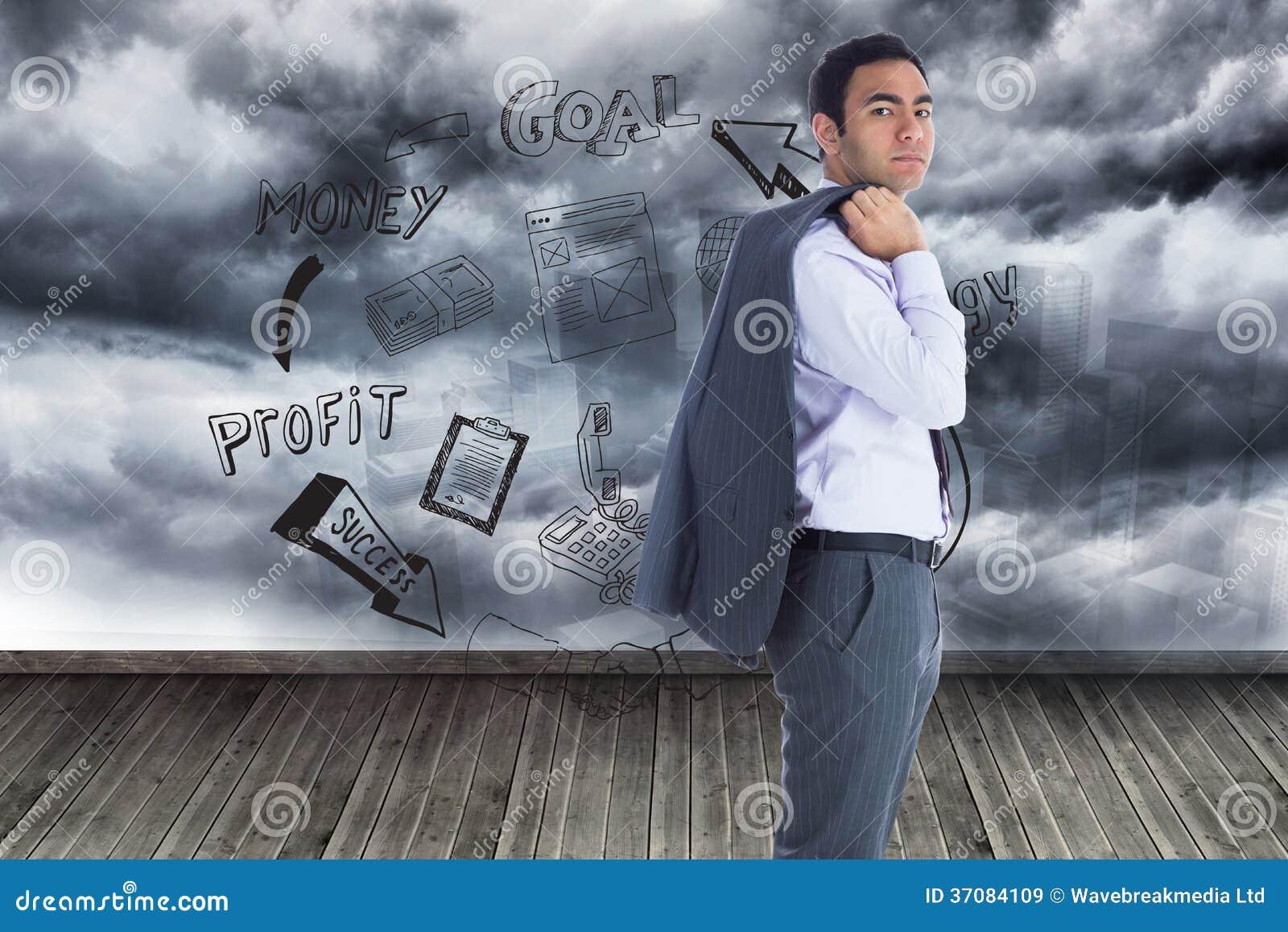 Download Unsmiling Biznesmen Pozycja Obraz Stock - Obraz złożonej z brąz, chmury: 37084109