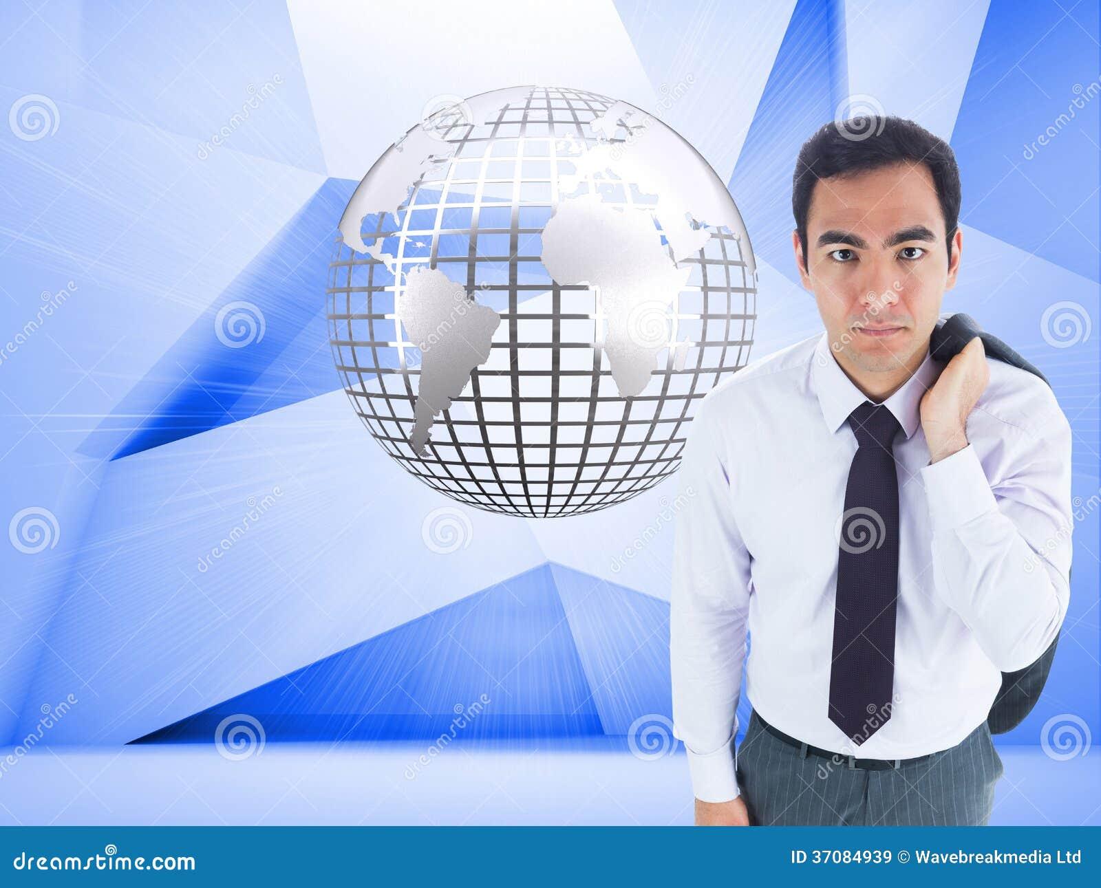 Download Unsmiling Biznesmen Pozycja Obraz Stock - Obraz złożonej z biznesmen, digitalis: 37084939