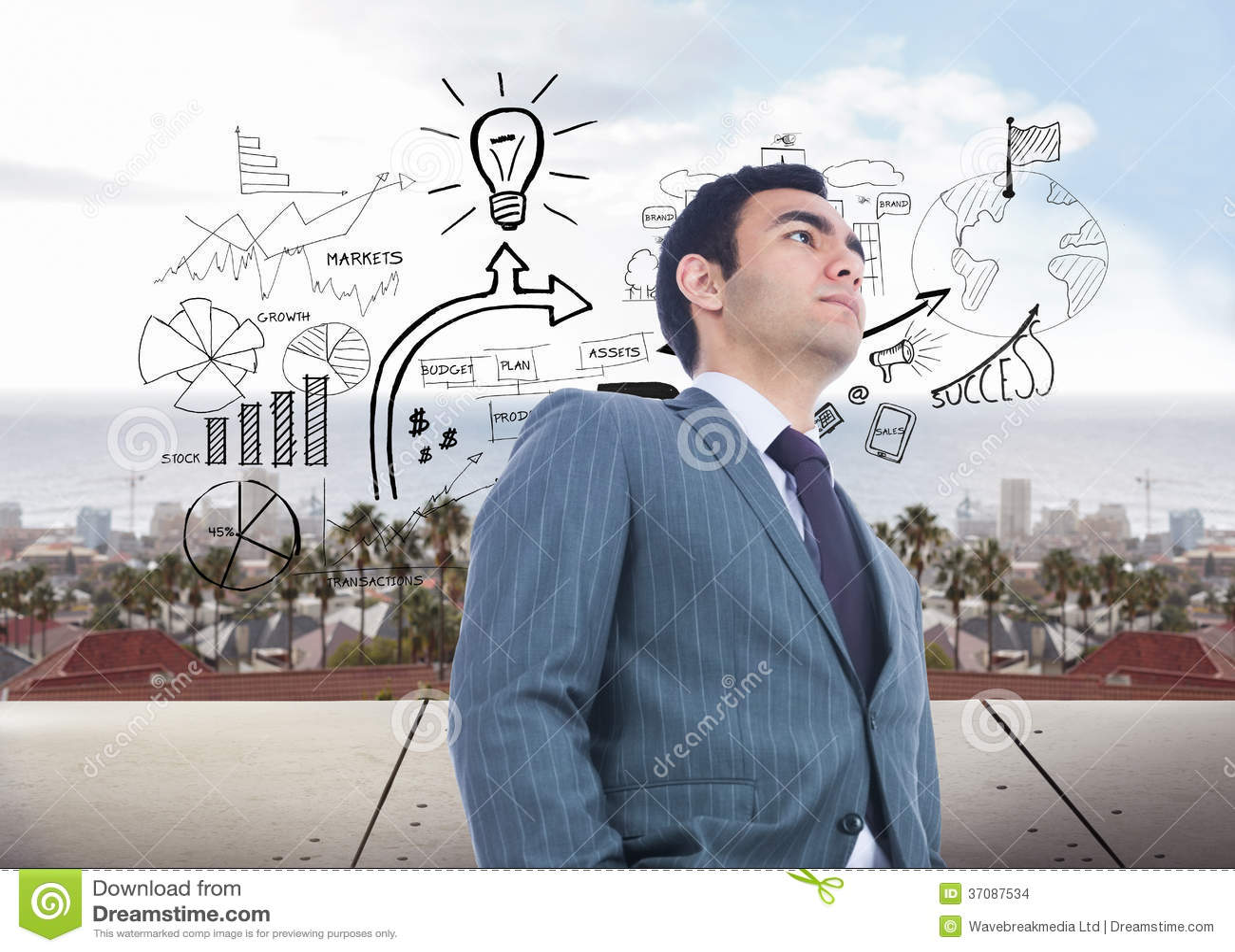 Download Unsmiling Biznesmen Pozycja Zdjęcie Stock - Obraz złożonej z city, digitise: 37087534