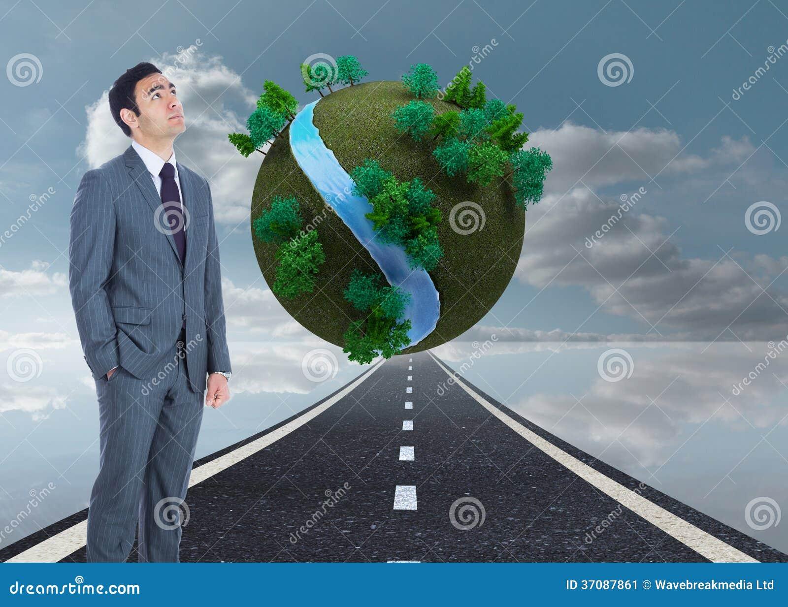 Download Unsmiling Biznesmen Pozycja Obraz Stock - Obraz złożonej z natura, composite: 37087861