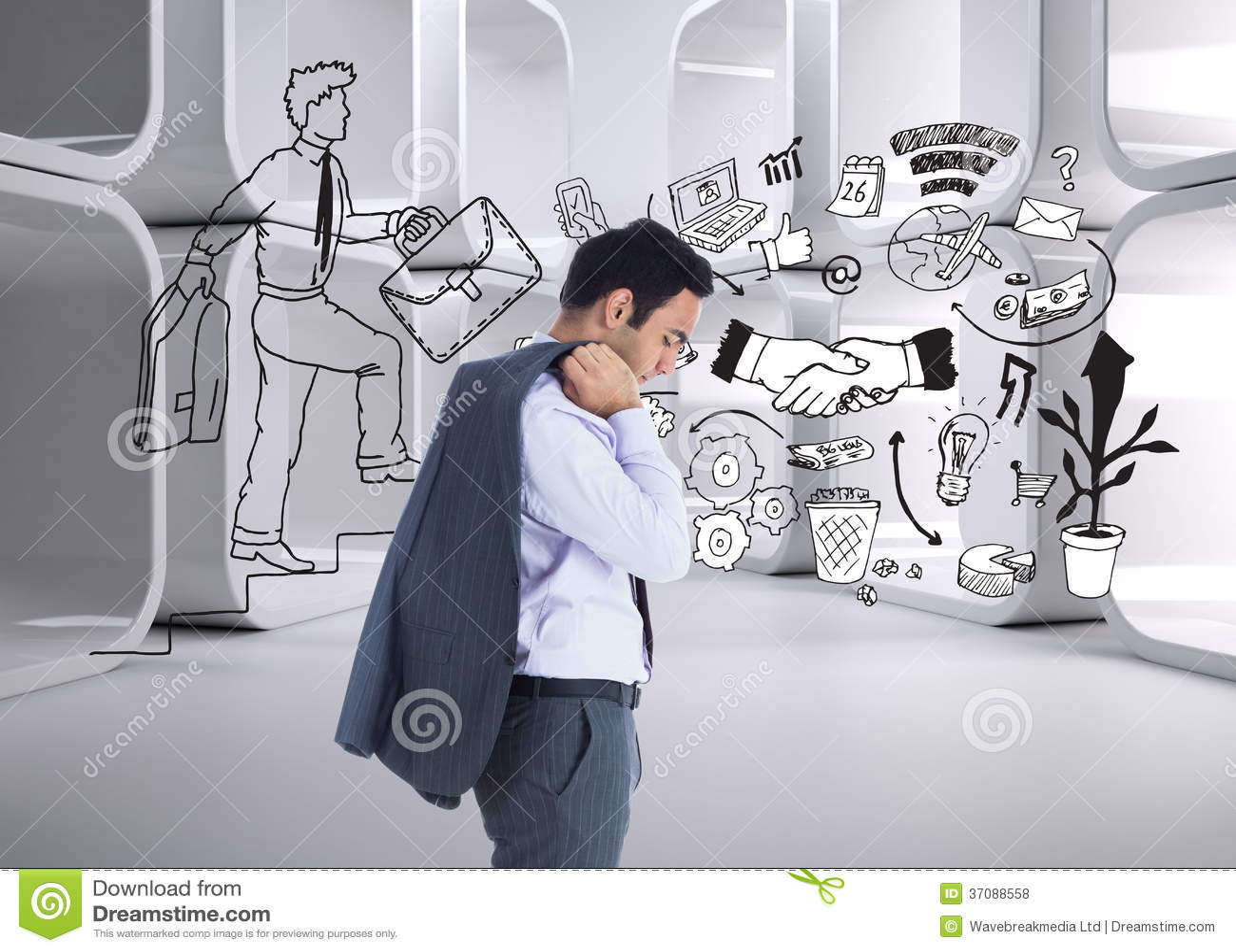 Download Unsmiling Biznesmen Pozycja Zdjęcie Stock - Obraz złożonej z abstrakt, nowożytny: 37088558