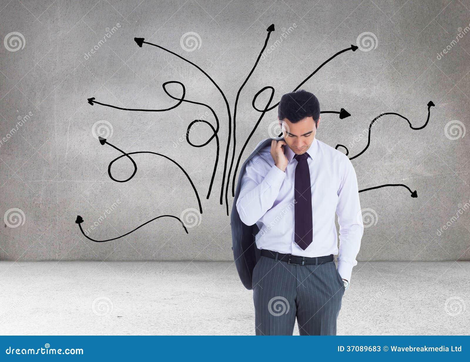Download Unsmiling Biznesmen Pozycja Obraz Stock - Obraz złożonej z kierunek, upaćkany: 37089683