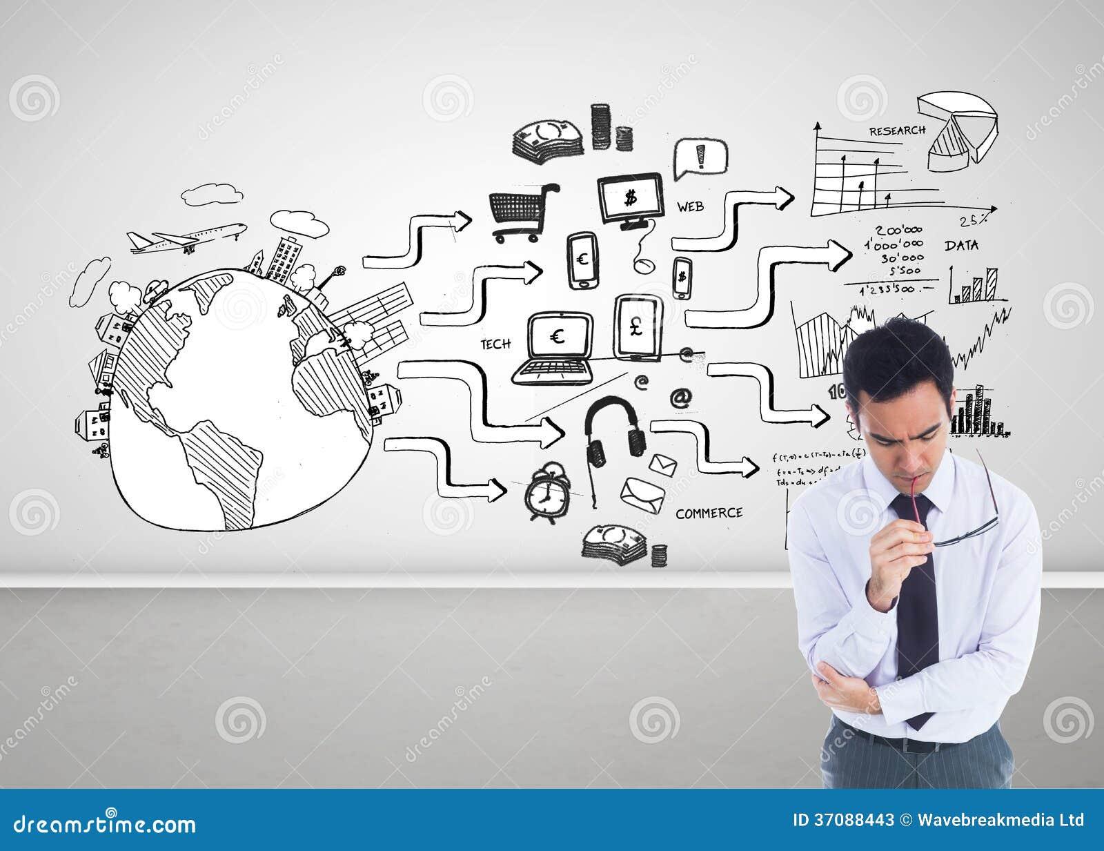 Download Unsmiling Biznesmen Trzyma Szkła Obraz Stock - Obraz złożonej z flowchart, laptop: 37088443