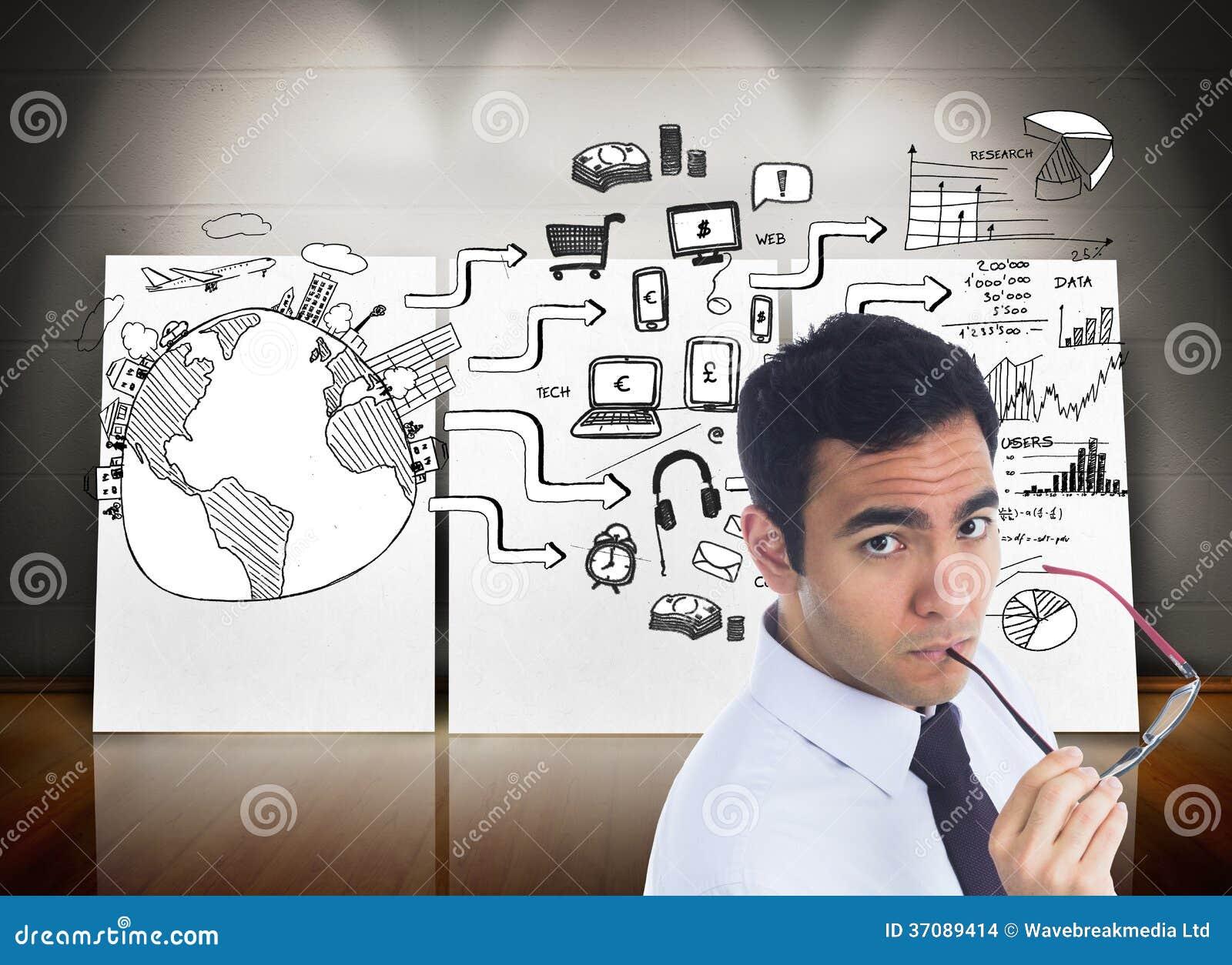 Download Unsmiling Biznesmen Trzyma Szkła Zdjęcie Stock - Obraz złożonej z pastylka, pieniądze: 37089414