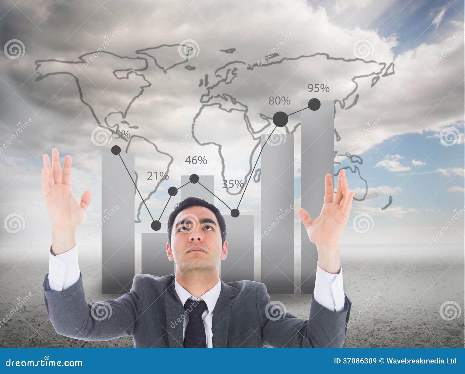 Download Unsmiling Biznesmen Z Rękami Podnosić Obraz Stock - Obraz złożonej z digitalis, jeden: 37086309