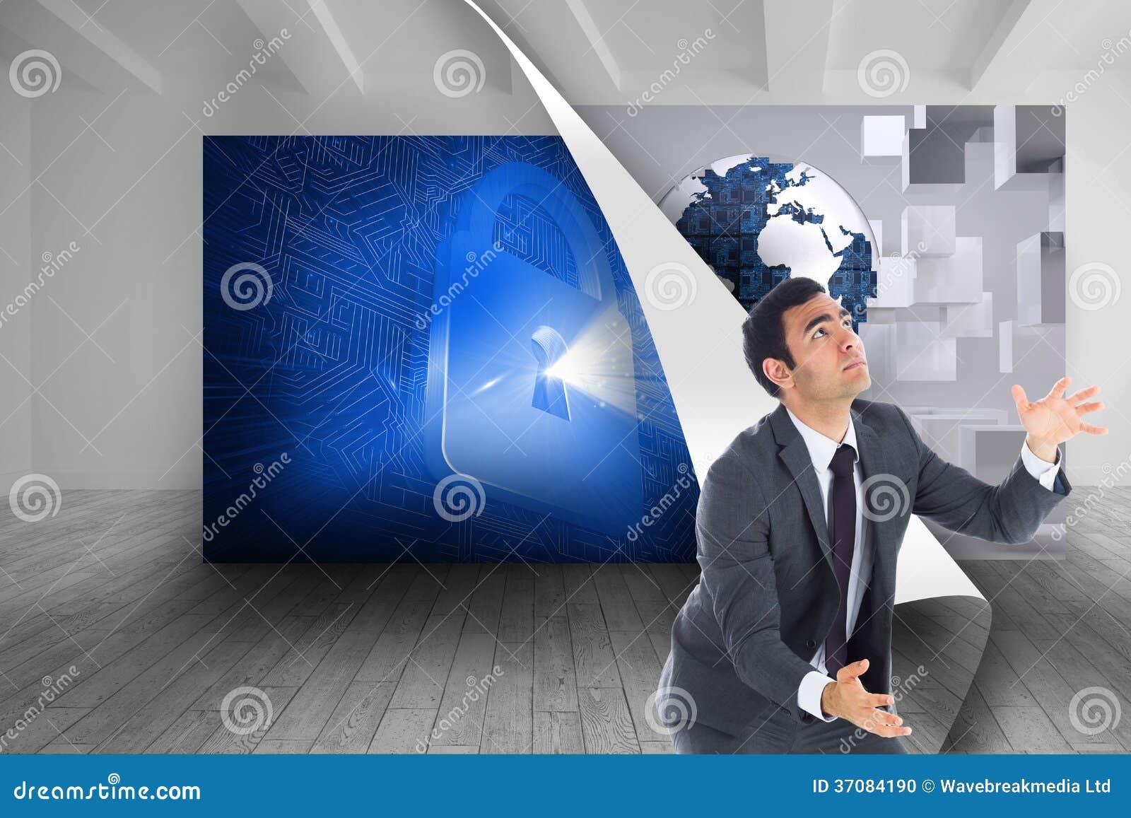 Download Unsmiling Biznesmena łapanie Zdjęcie Stock - Obraz złożonej z wyznaczający, digitalis: 37084190