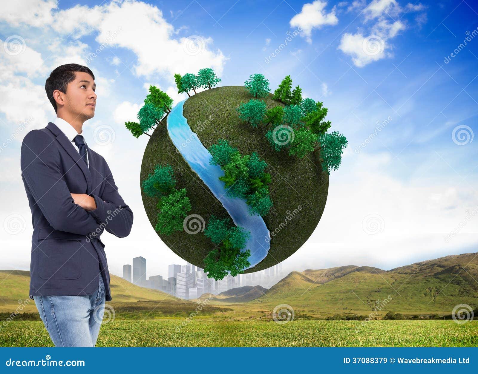 Download Unsmiling Przypadkowy Biznesmen Z Rękami Krzyżować Obraz Stock - Obraz złożonej z city, piłka: 37088379