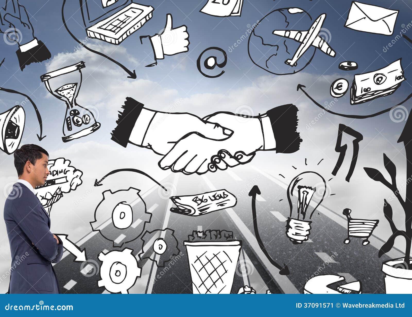 Download Unsmiling Przypadkowy Biznesmen Z Rękami Krzyżować Obraz Stock - Obraz złożonej z błękitny, composite: 37091571