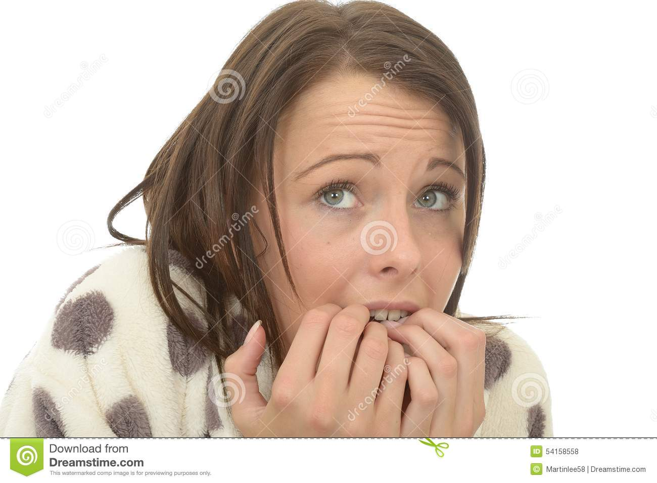 Unstable Nervous Scared Anxious Sad Young Woman Biting Her Nails