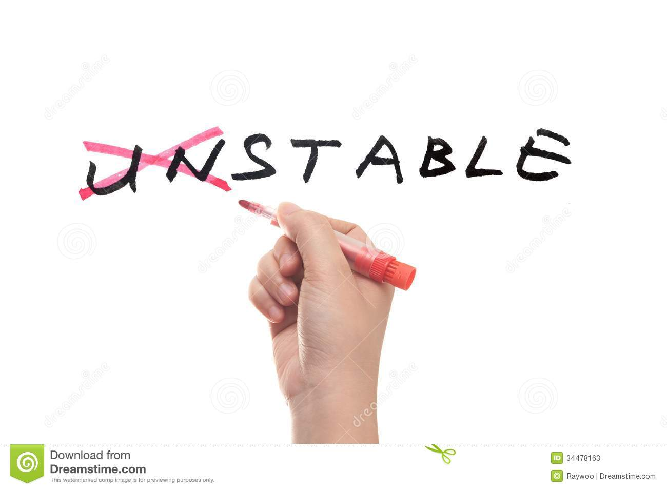 unstable to stable concept stock photos