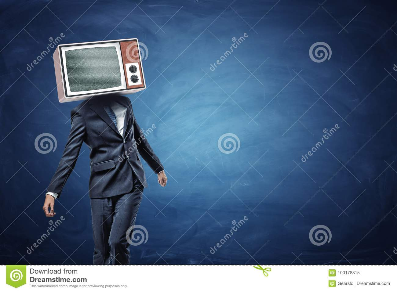 An unsteady businessman standing unevenly with a large retro TV on his head showing gray noise.