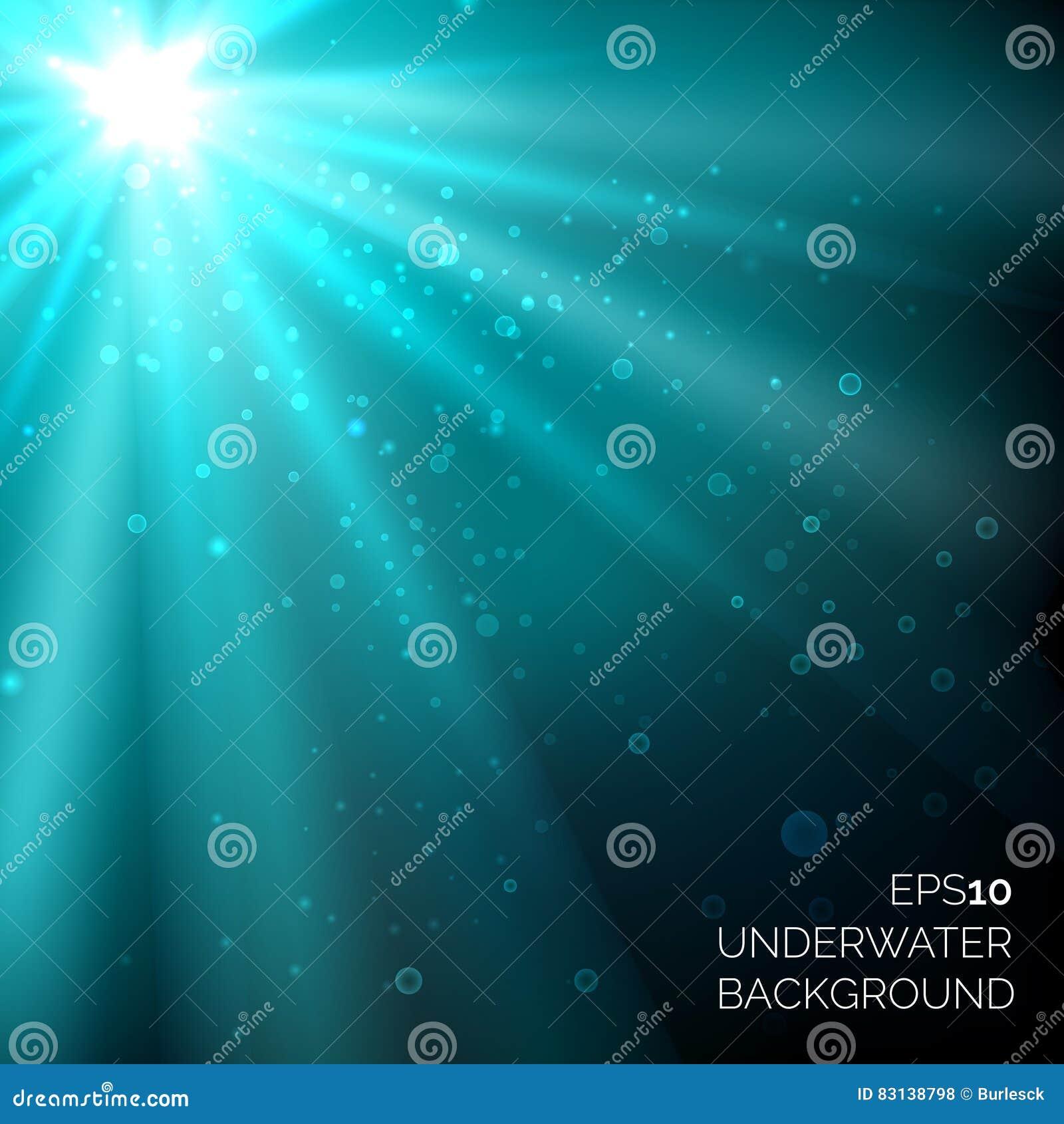 Unter blauem Vektor des tiefen Ozeans des Wassers strahlt Hintergrund mit Blasen und Sonnenschein aus