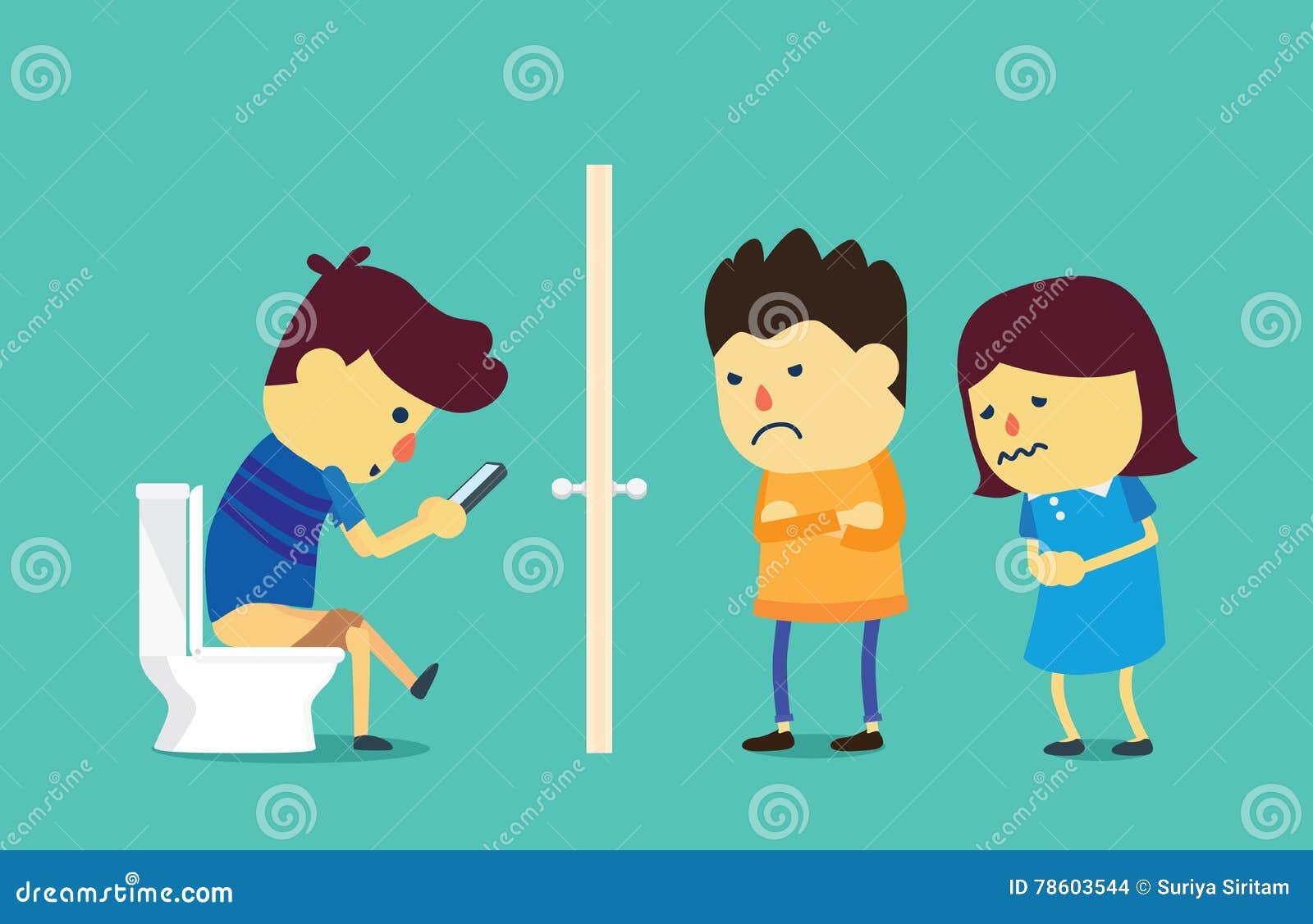 Unter Verwendung Der Langen Zeit Des Smartphone In Der Toilette
