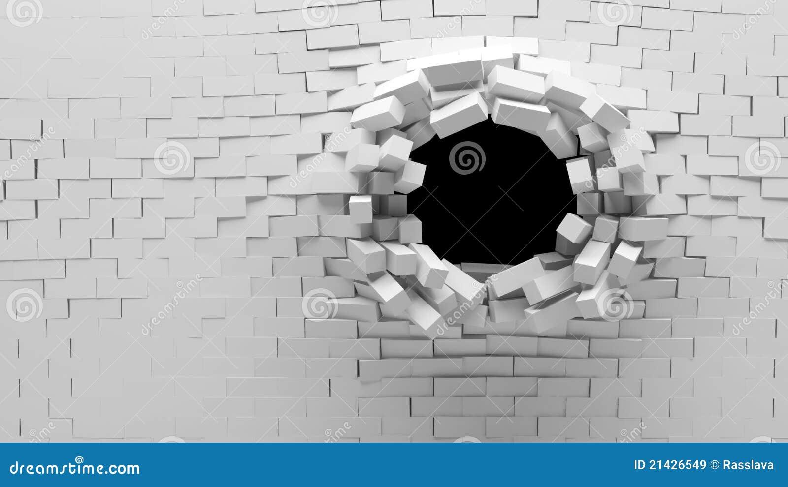 Unterbrochene Backsteinmauer