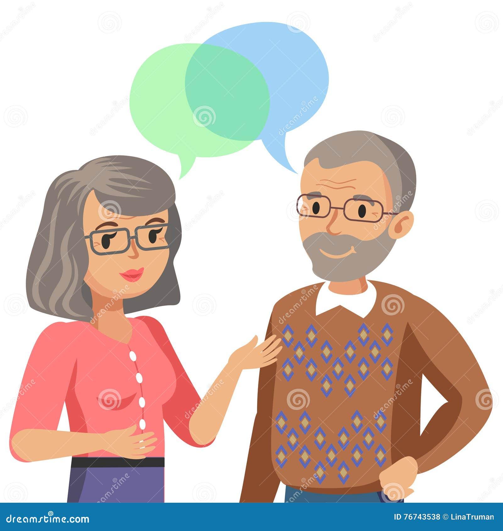 Unterhaltung des alten Mannes und der alten Frauen Gespräch des Gatten oder der Freunde Vektor