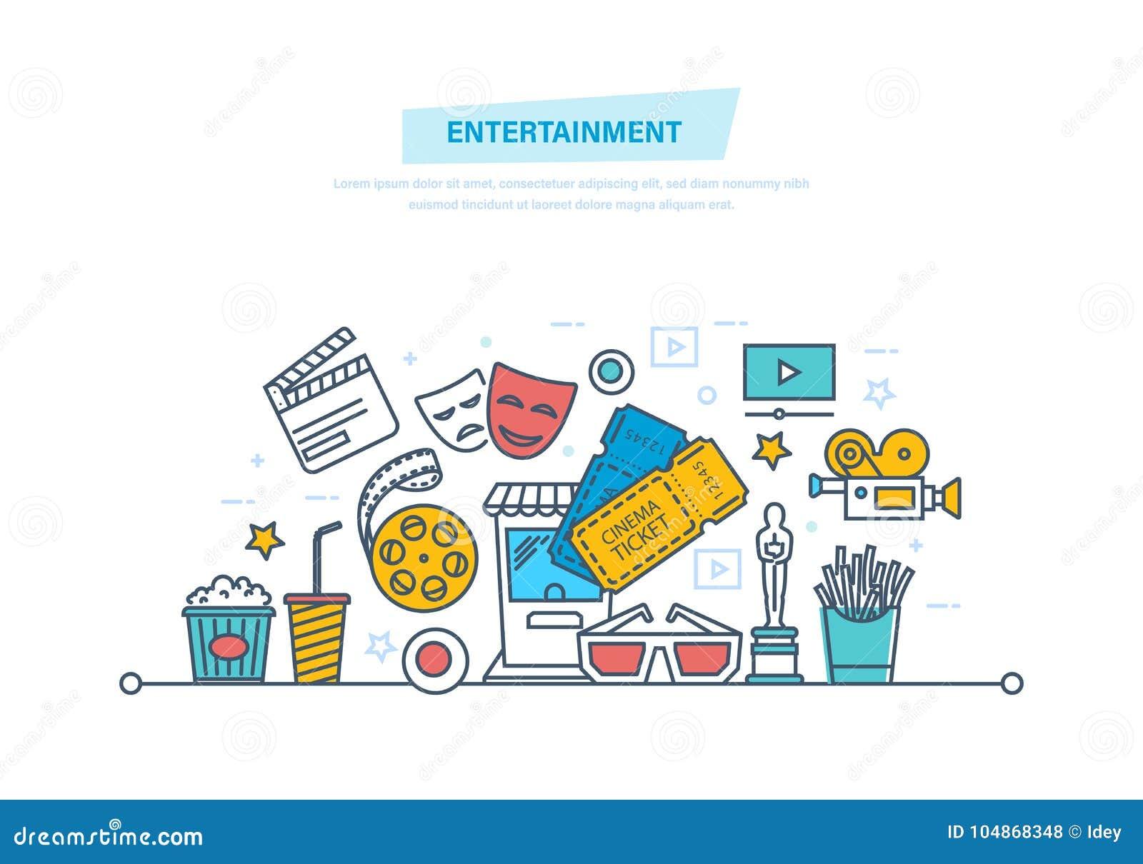 Unterhaltung, Kino und Film, Kinokonzept Ikonen eingestelltes Kino und Filme getrennt auf Weiß