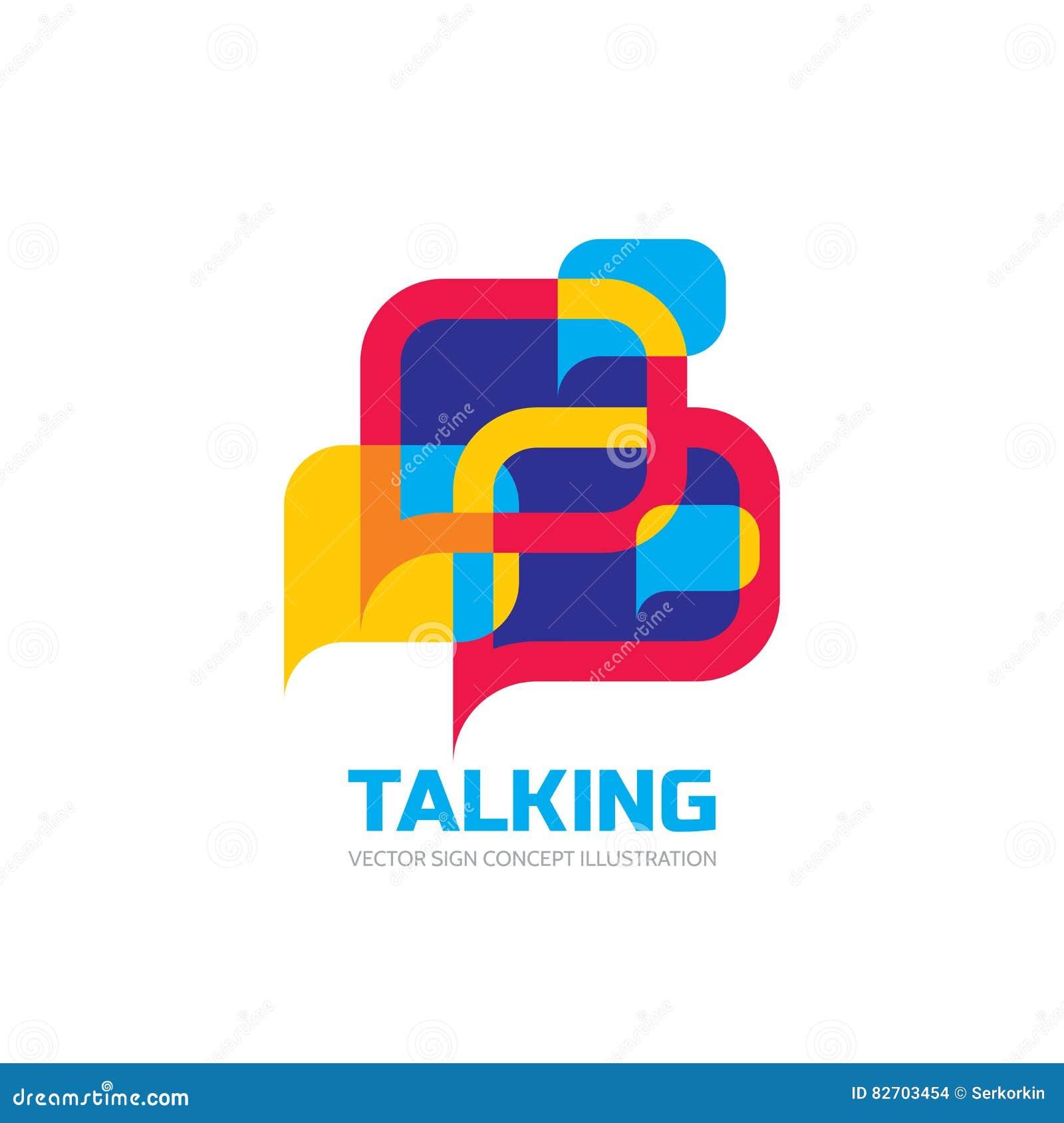 Unterhaltung - Rede sprudelt Vektorlogo-Konzeptillustration in der flachen Art Dialogikone
