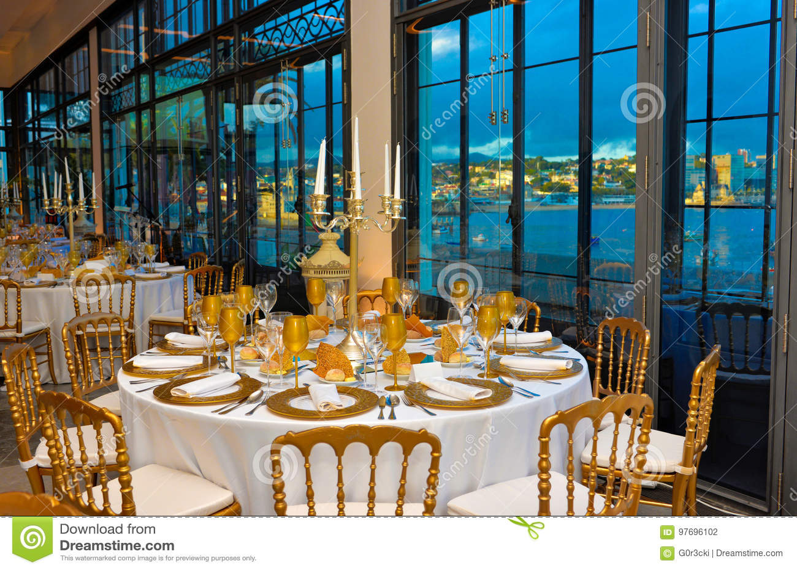Unternehmensereignis Abendessen Mit Marina Bay View