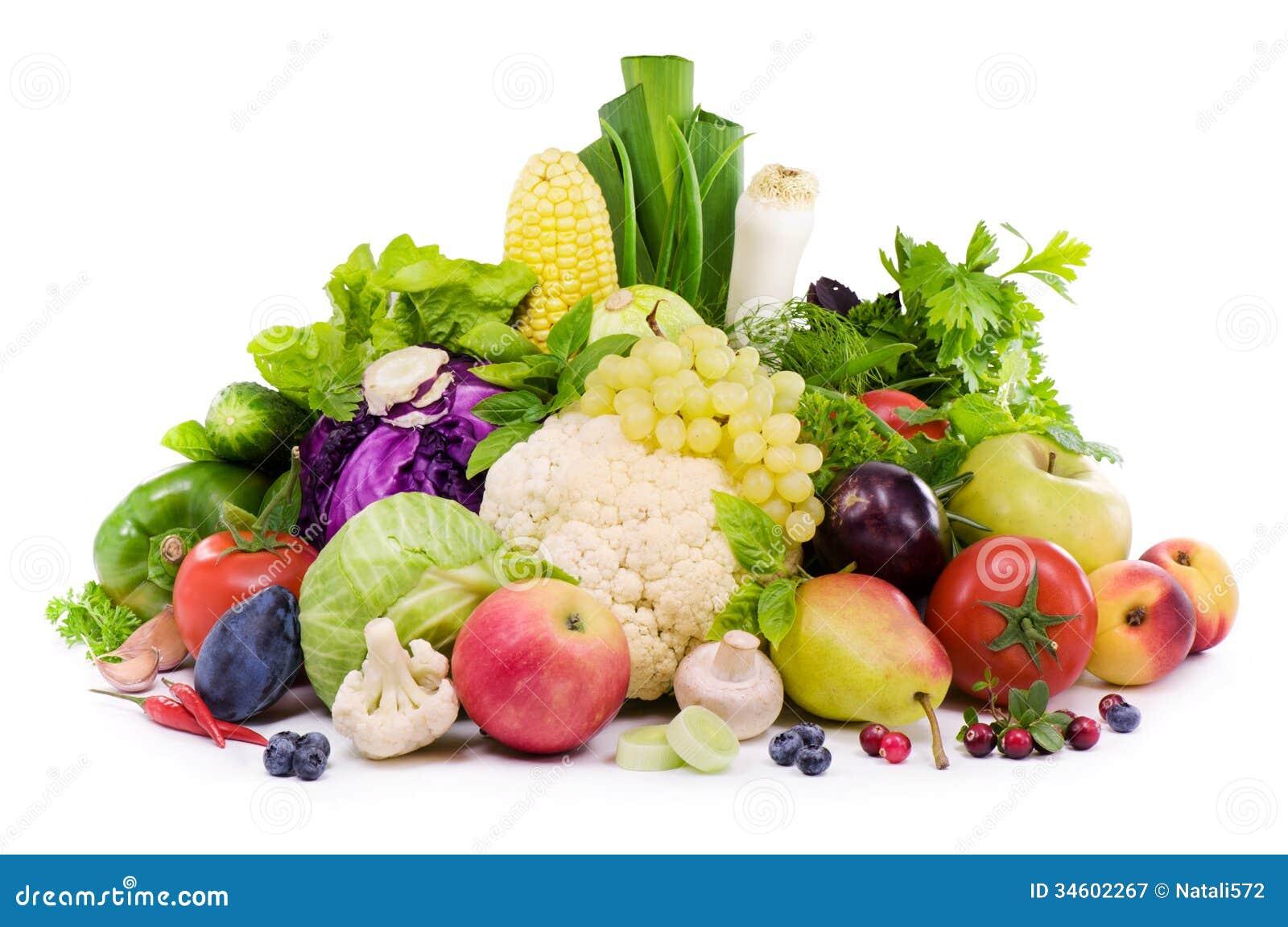 Unterschiedliche Art des Gemüses, der Frucht, der würzigen Kräuter und der Beere