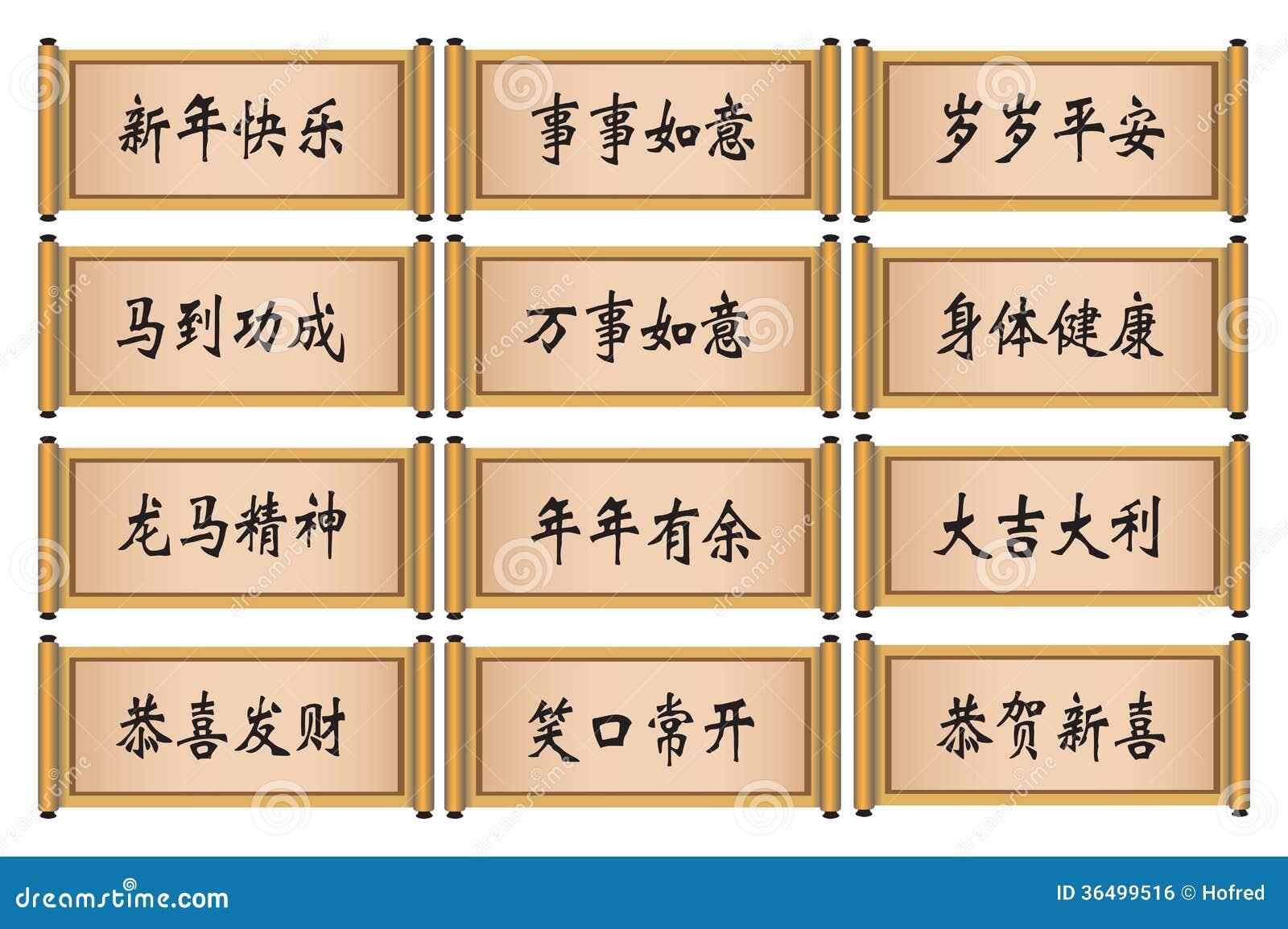 Unterschiedliche Chinesische Gruß-Kalligraphie Für Neues Mondjahr ...