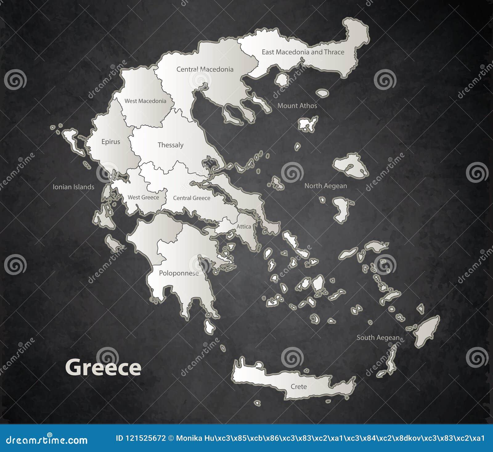 Karte Europa Schwarz Weiss.Unterschiedliche Einzelne Tafel Des Griechenland Karte
