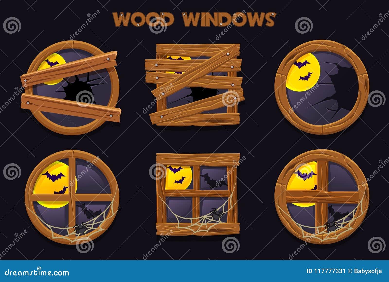 Unterschiedliche Form und alte zerbrochene hölzerne Fenster, Karikaturbauobjekte mit Spinnennetzen und Vollmond