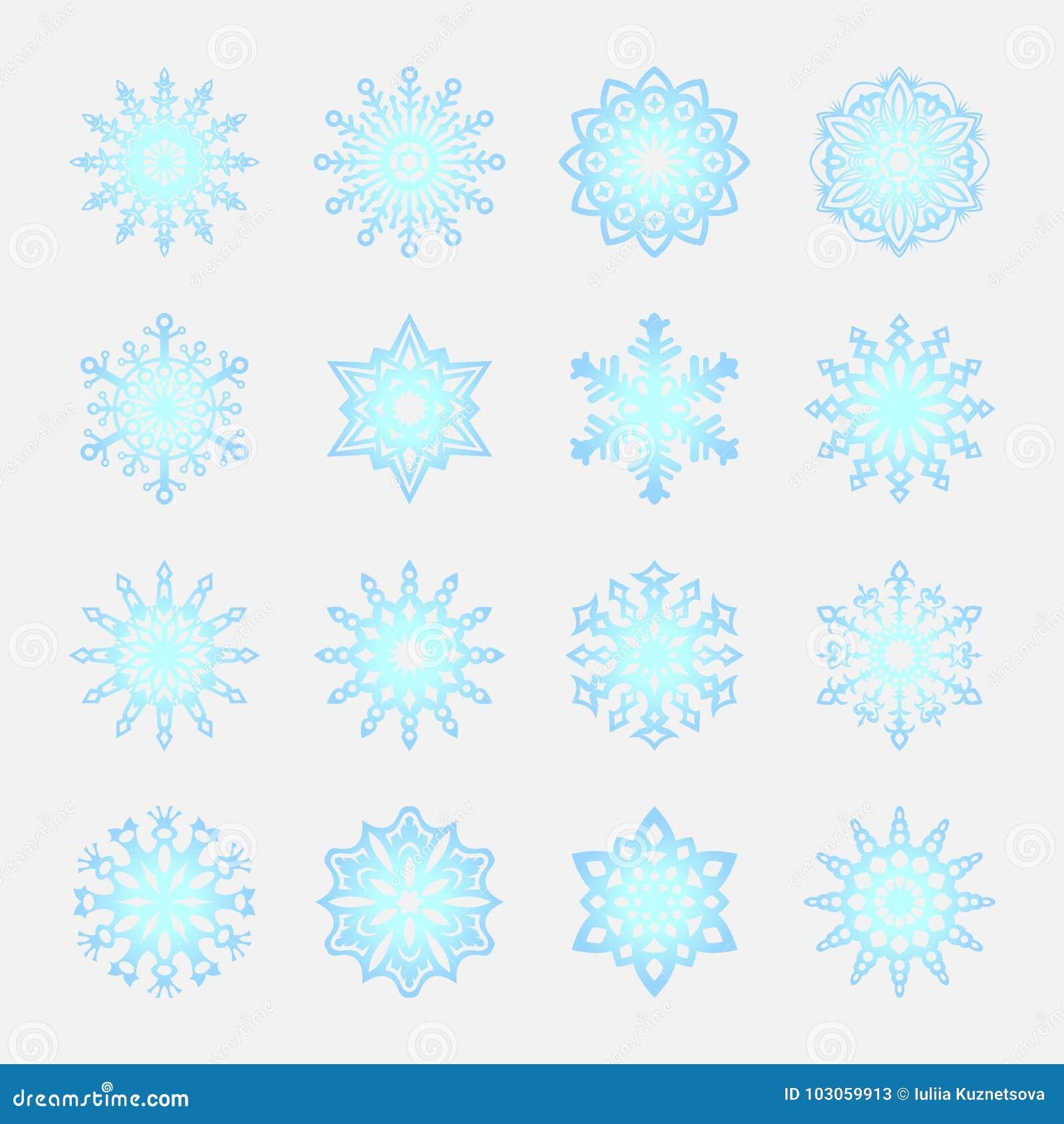 Unterschiedliche Schneeflocken Kritzelt Clipart Weihnachten Des ...
