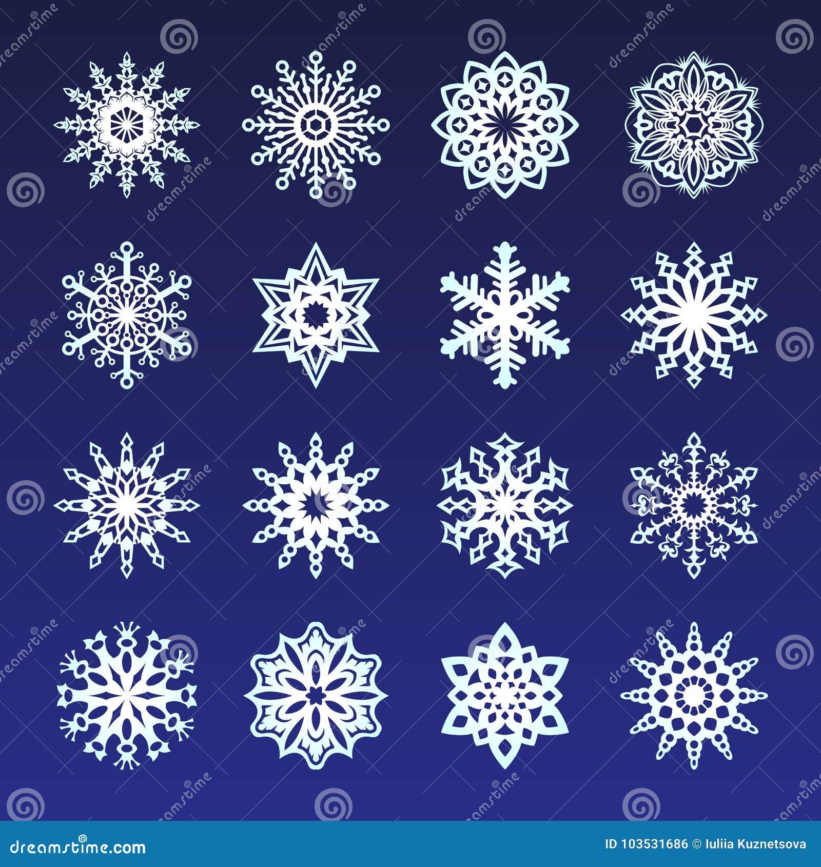 Unterschiedliche Schneeflocken Kritzelt Ikone Kristallillustration ...