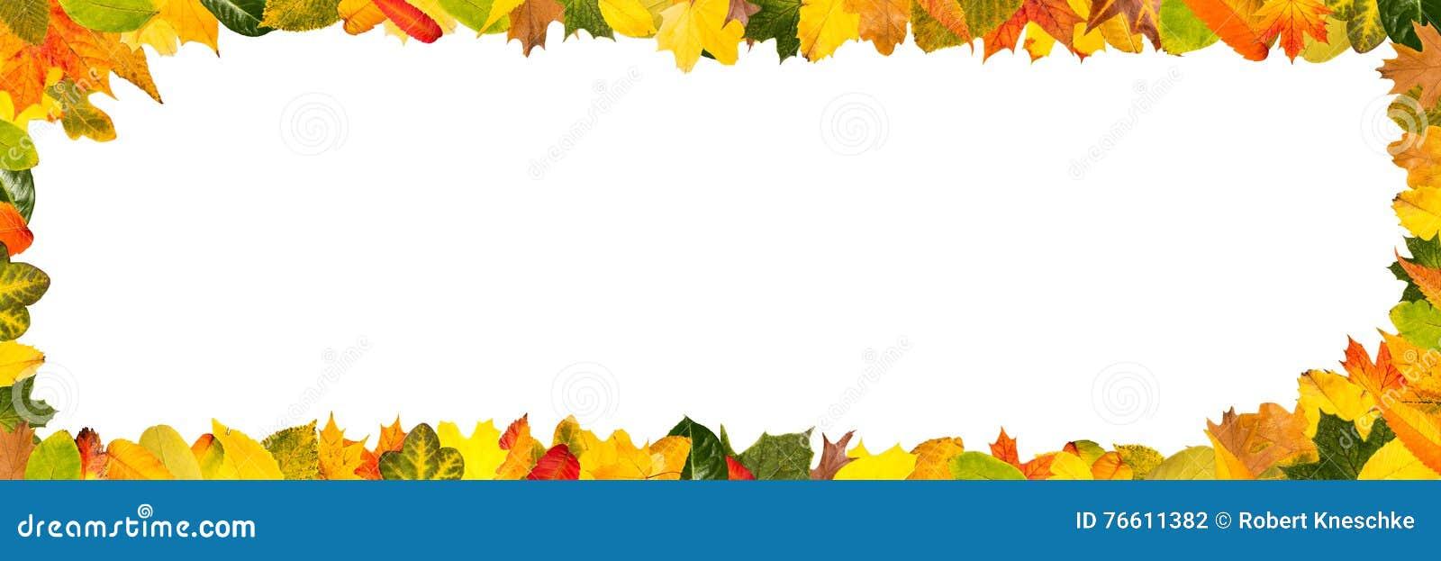 Unterschiedlicher Herbstlaub Als Panoramarahmen Stockfoto - Bild von ...