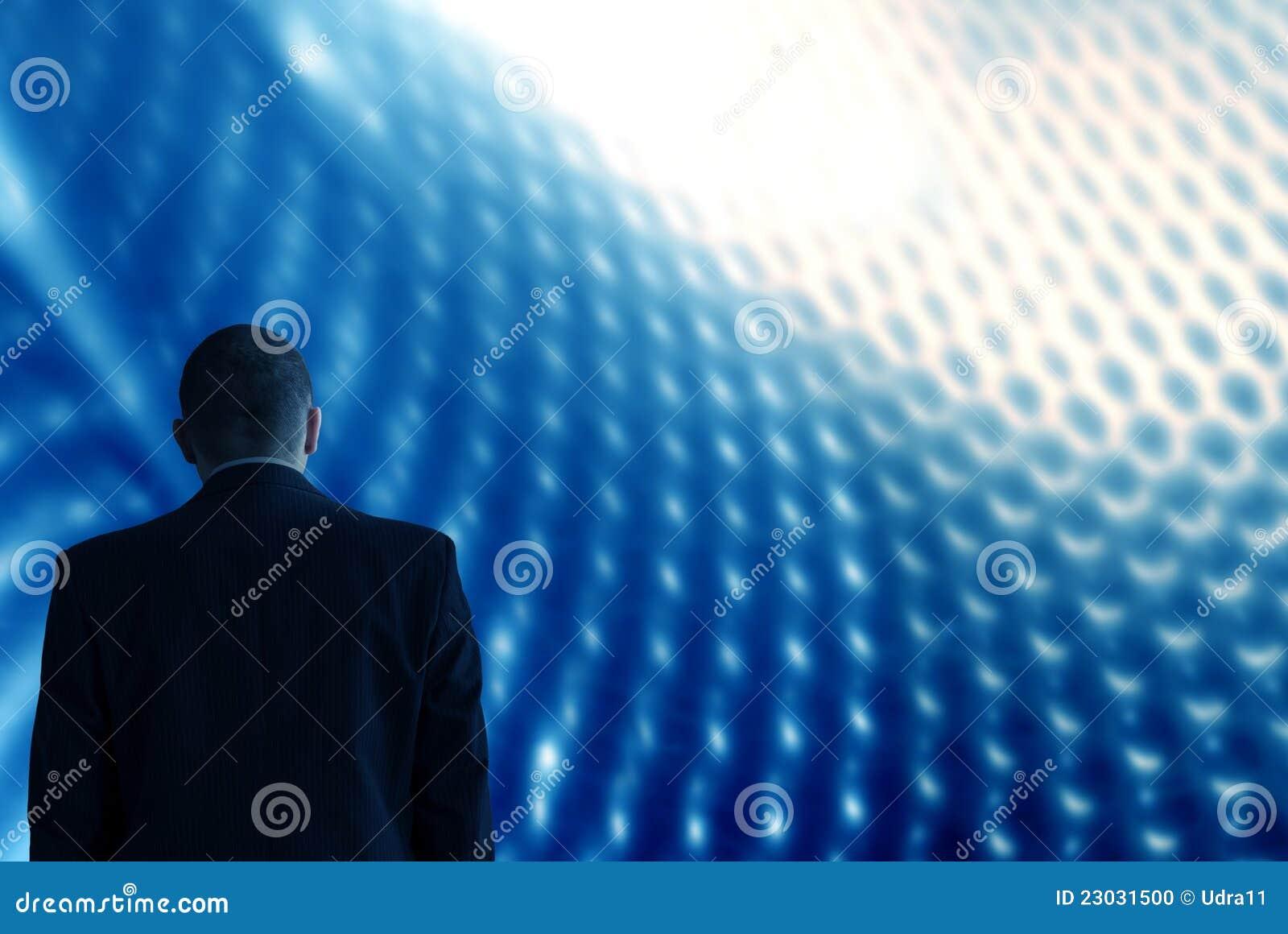 Untersuchen Sie zukünftiges Technologiehintergrundblau