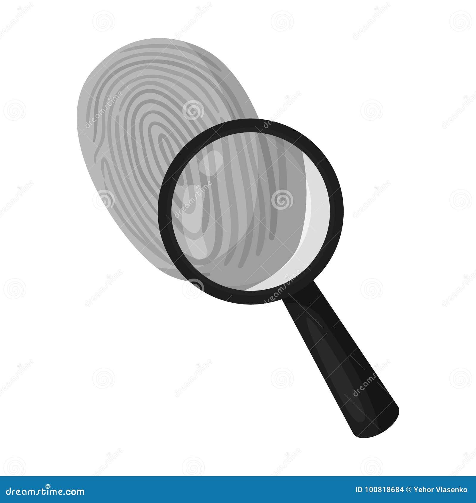 Untersuchung durch Fingerabdruckvergrößerungsglas, Verbrechen Lupe ist ein Detektivwerkzeug, einzelne Ikone im einfarbigen Artvek