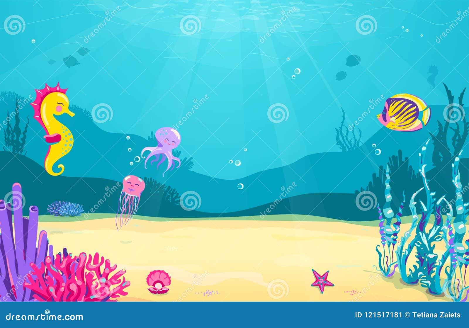 Unterwasserkarikaturhintergrund Mit Fischen Sand