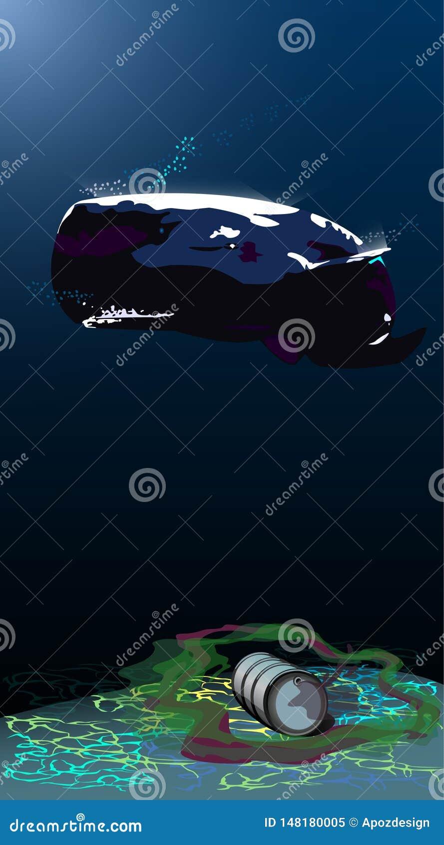 Unterwasserwelt, Samenzellenwal, Unterwasserabfall