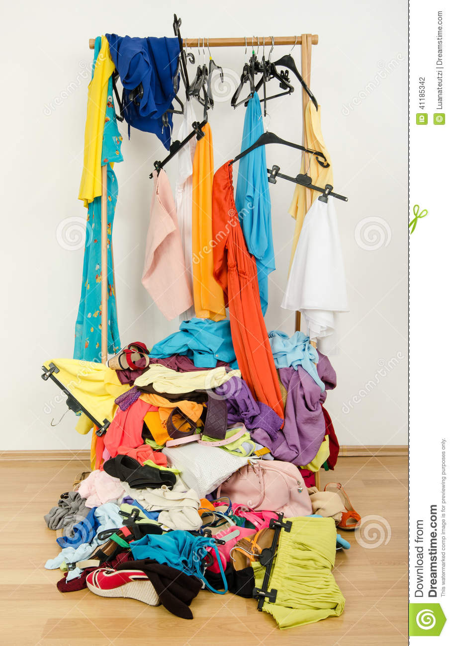 Untidy Cluttered Woman Wardrobe With Colorful Clothes And ...