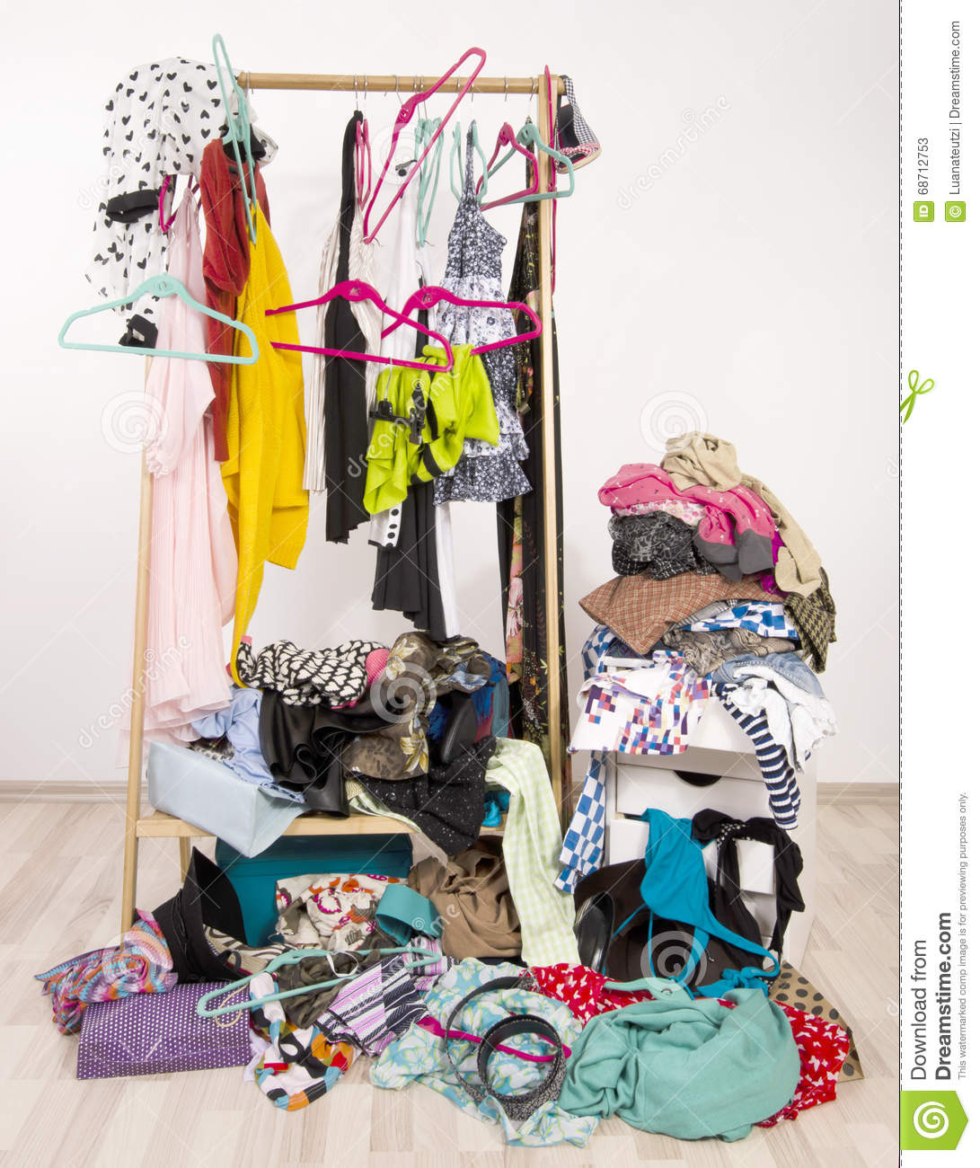 Colorful Mess Room: A Pile Of Colorful Clothes On The Floor Royalty-Free Stock